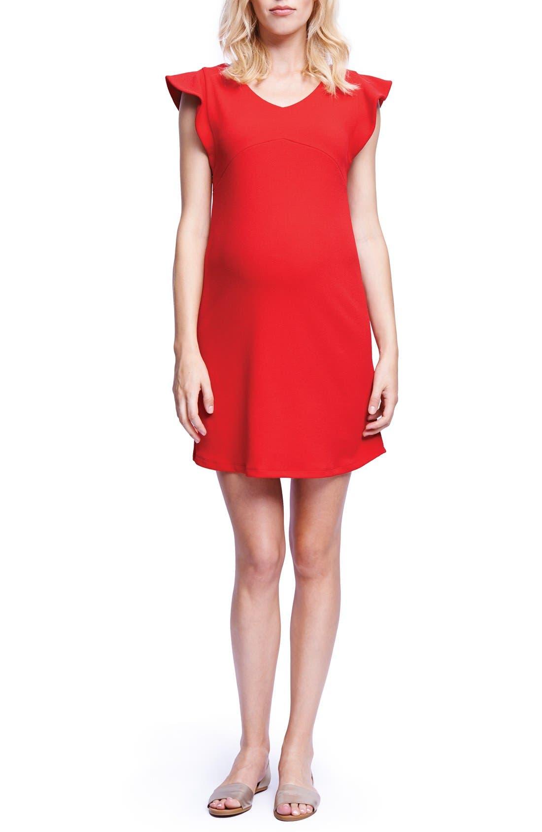 Maternal America Flutter Sleeve Maternity Dress, Red