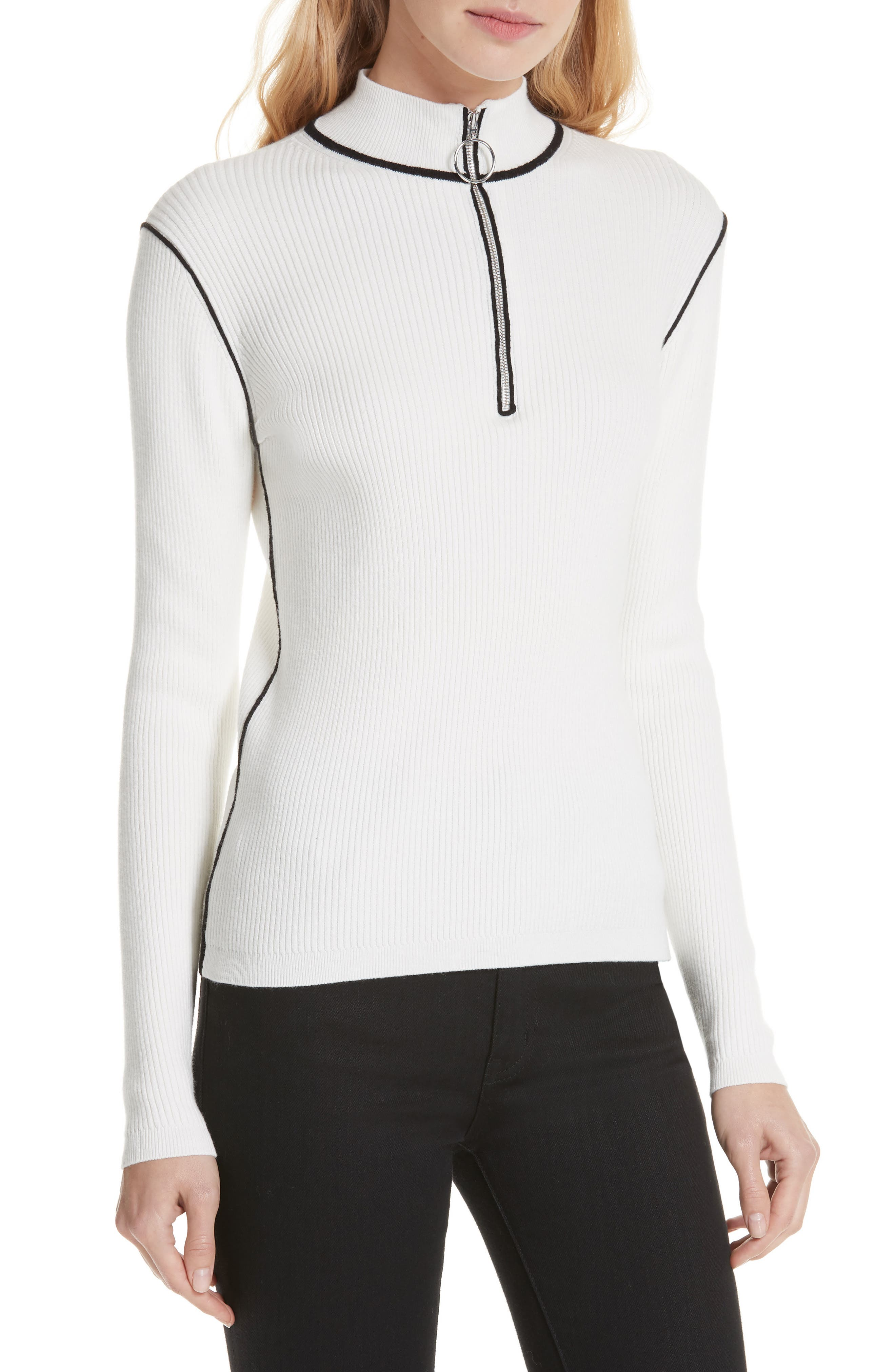 Maje Mandou Cotton Wool Blend Half Zip Sweater, White