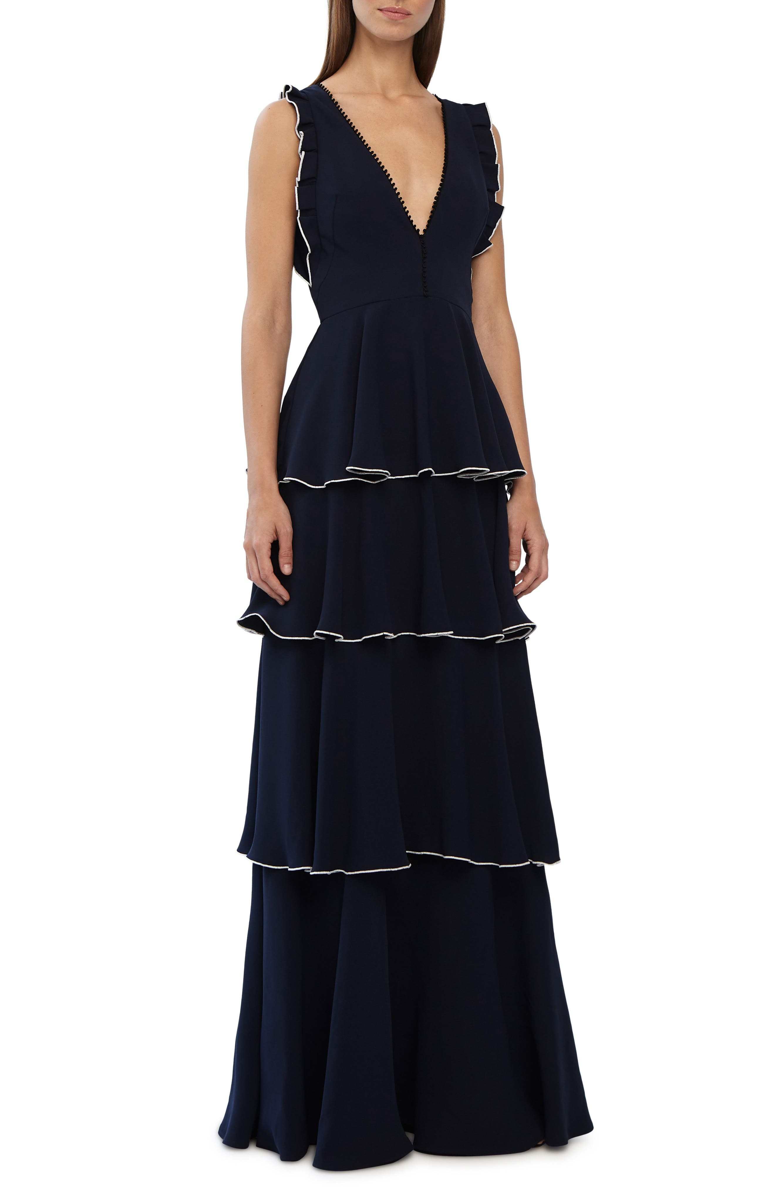 Ml Monique Lhuillier Layered Crepe Gown, Blue