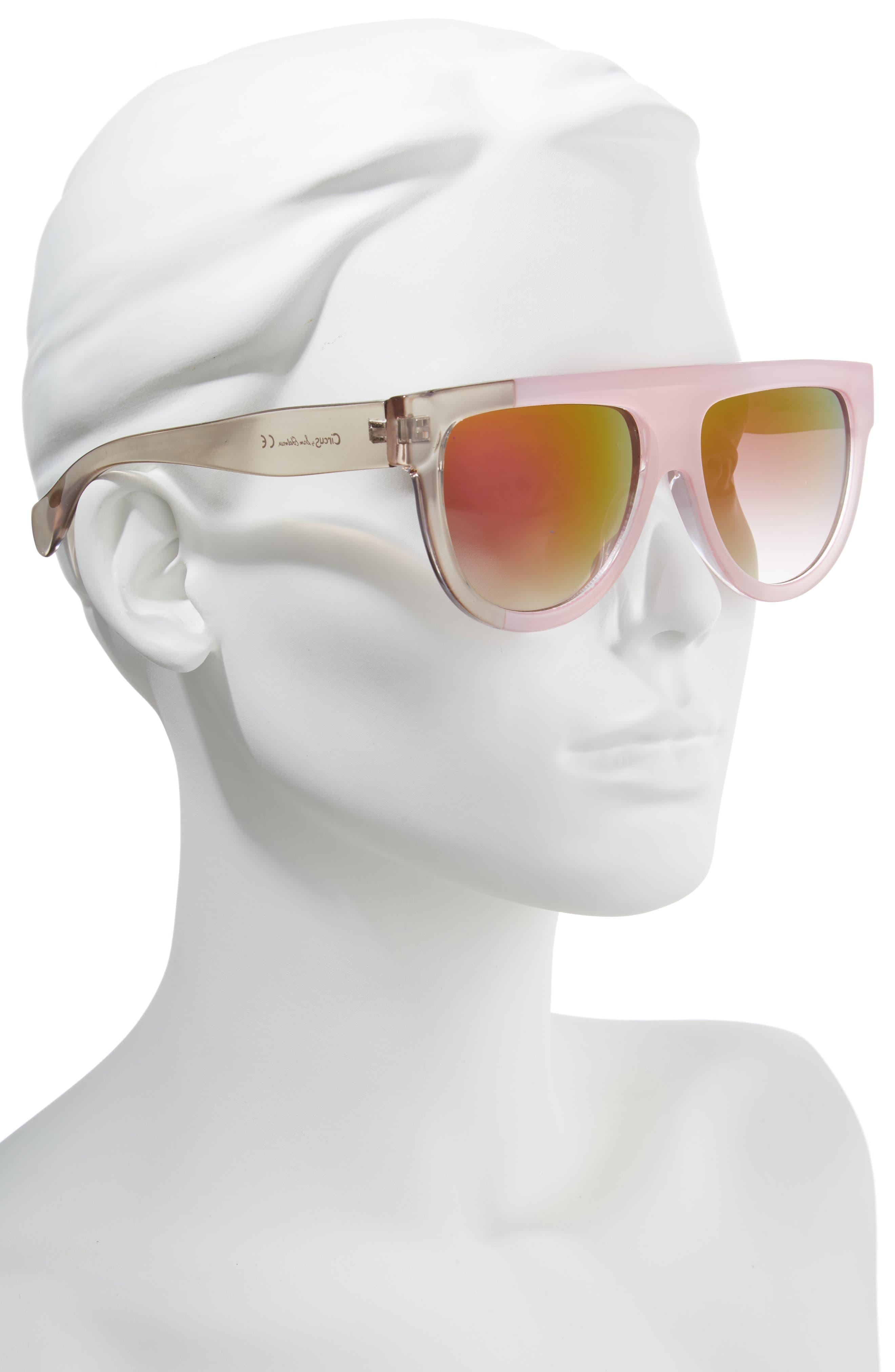 68mm Flat Top Sunglasses,                             Alternate thumbnail 4, color,