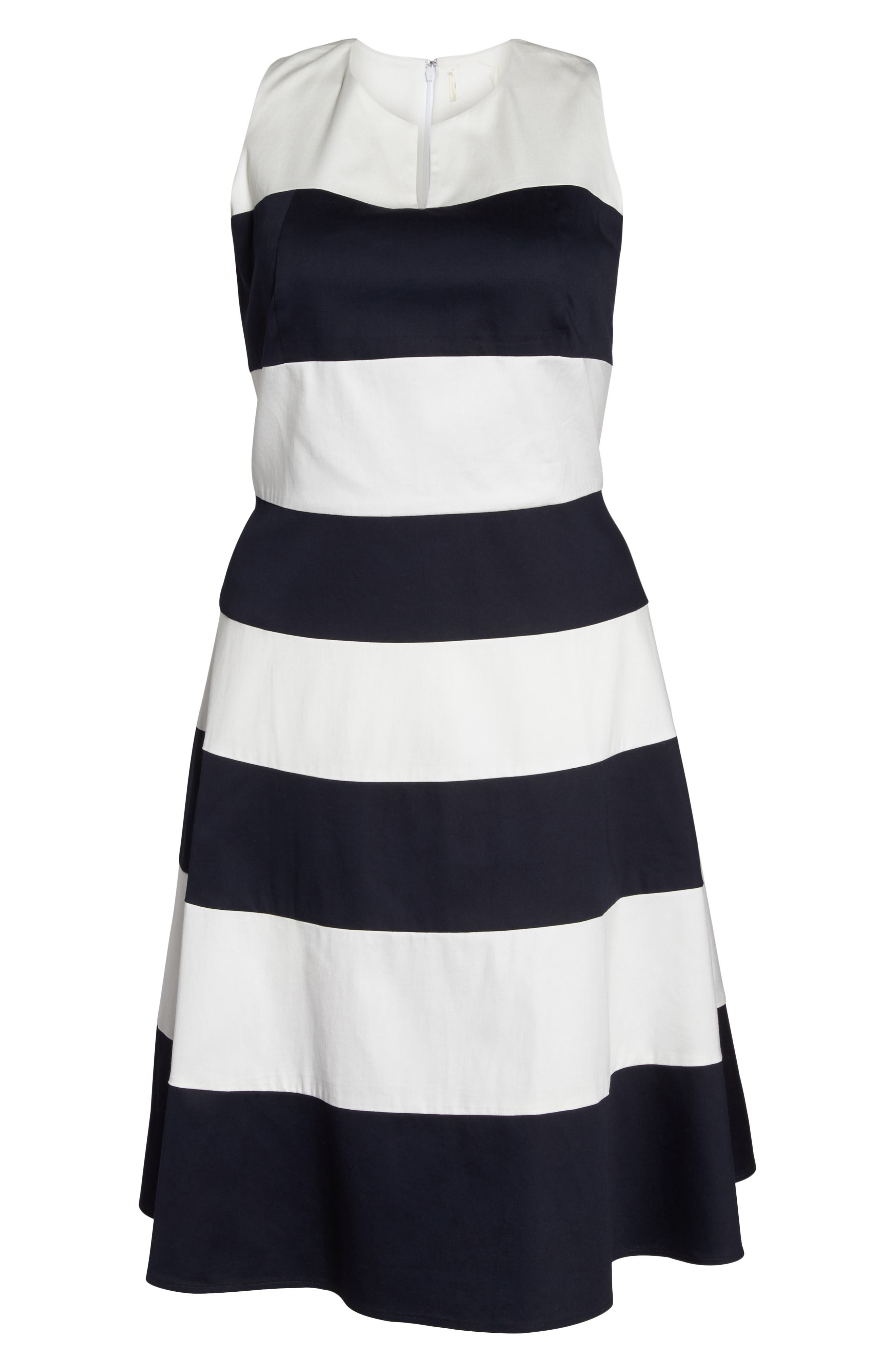 Stripe Fit & Flare Dress,                             Alternate thumbnail 7, color,                             NAVY- WHITE STRIPE