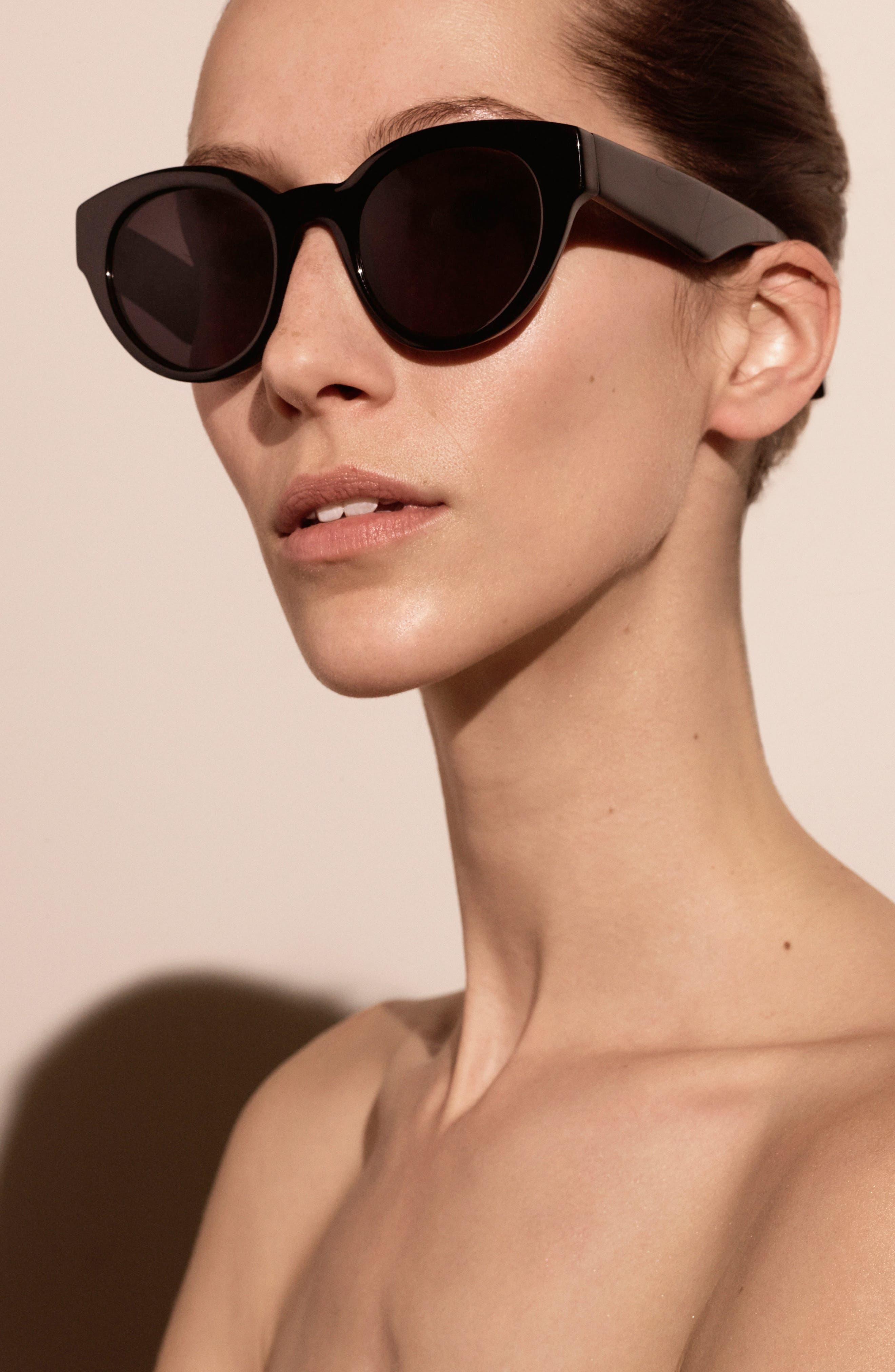 Payton 48mm Cat Eye Sunglasses,                             Alternate thumbnail 4, color,                             001