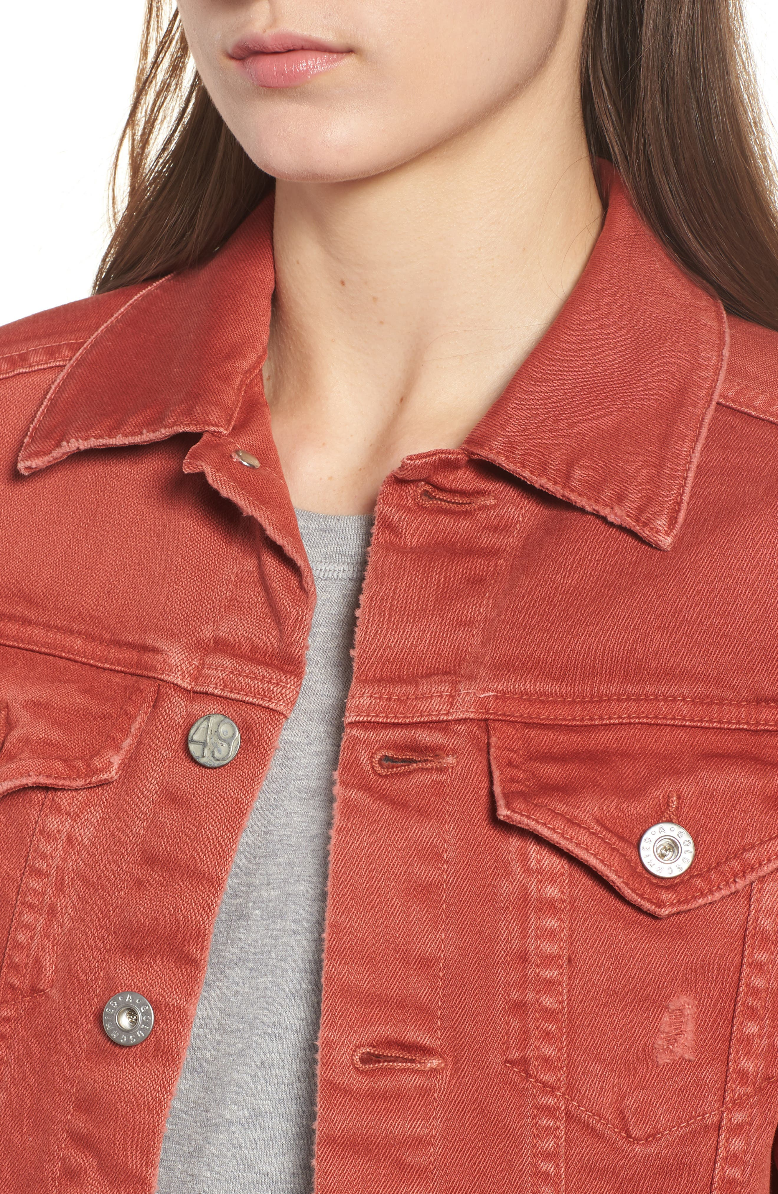 Mya Denim Jacket,                             Alternate thumbnail 4, color,                             10 YEARS REMEDY FIREBRICK