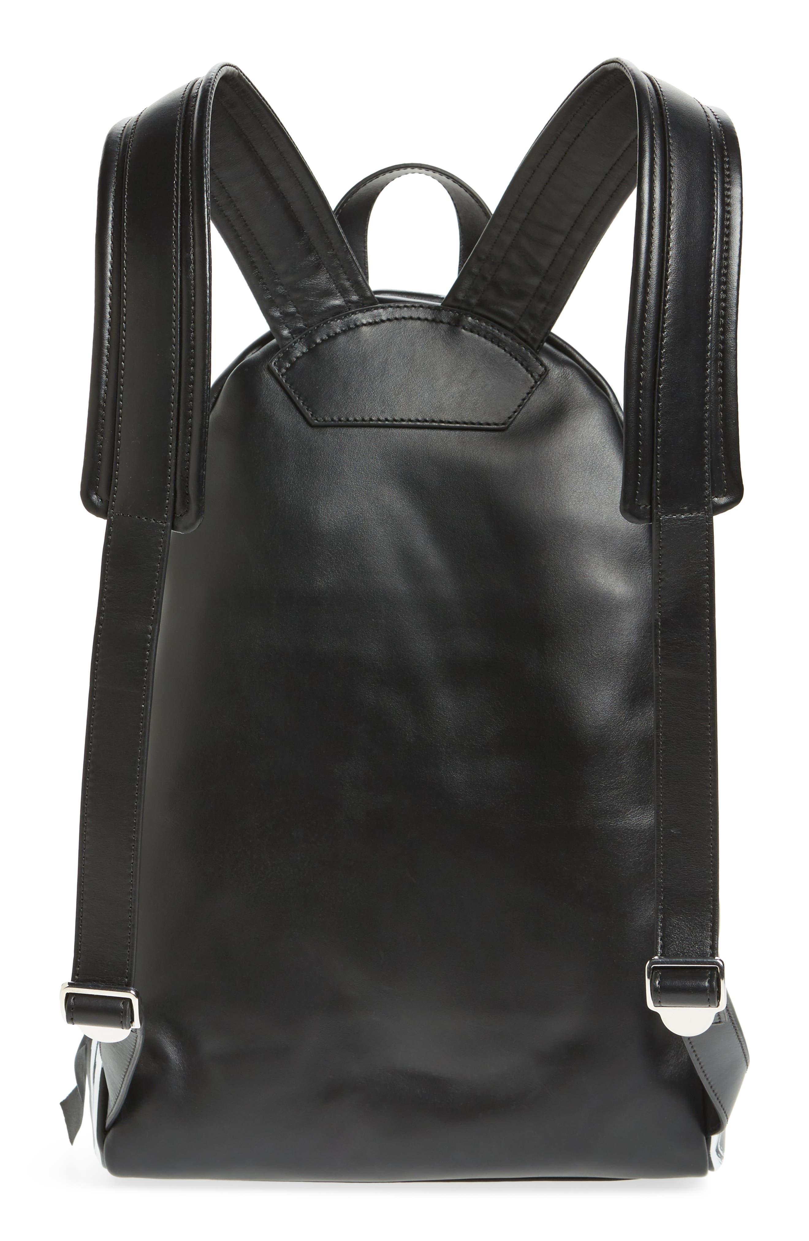 Graffiti Calfskin Leather Backpack,                             Alternate thumbnail 3, color,                             BLACK/ WHITE