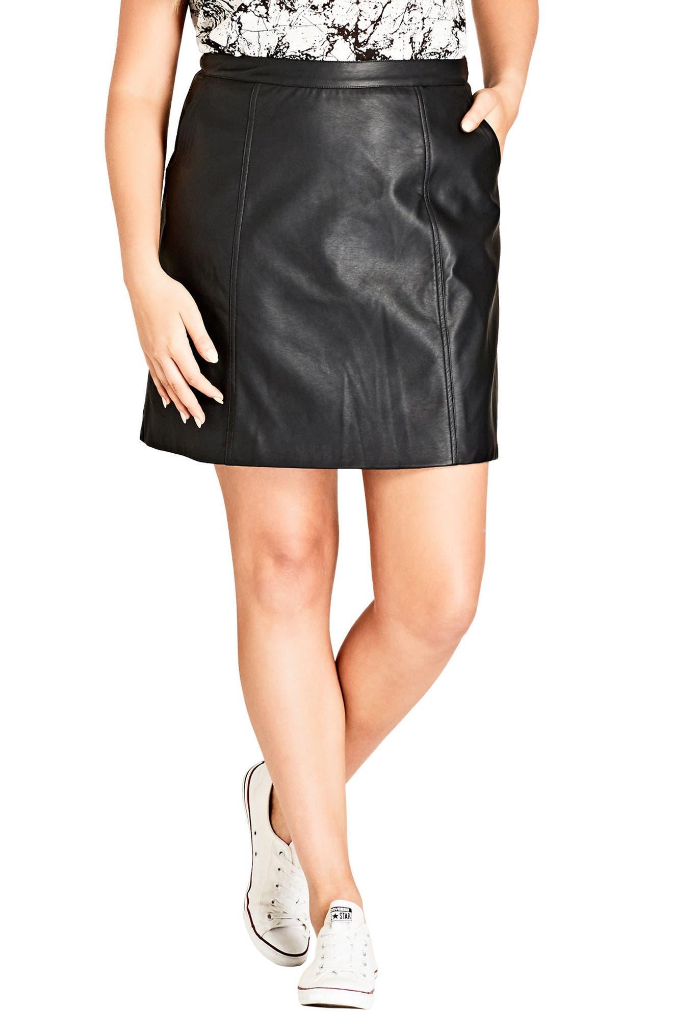 CITY CHIC,                             Faux Leather Miniskirt,                             Main thumbnail 1, color,                             BLACK