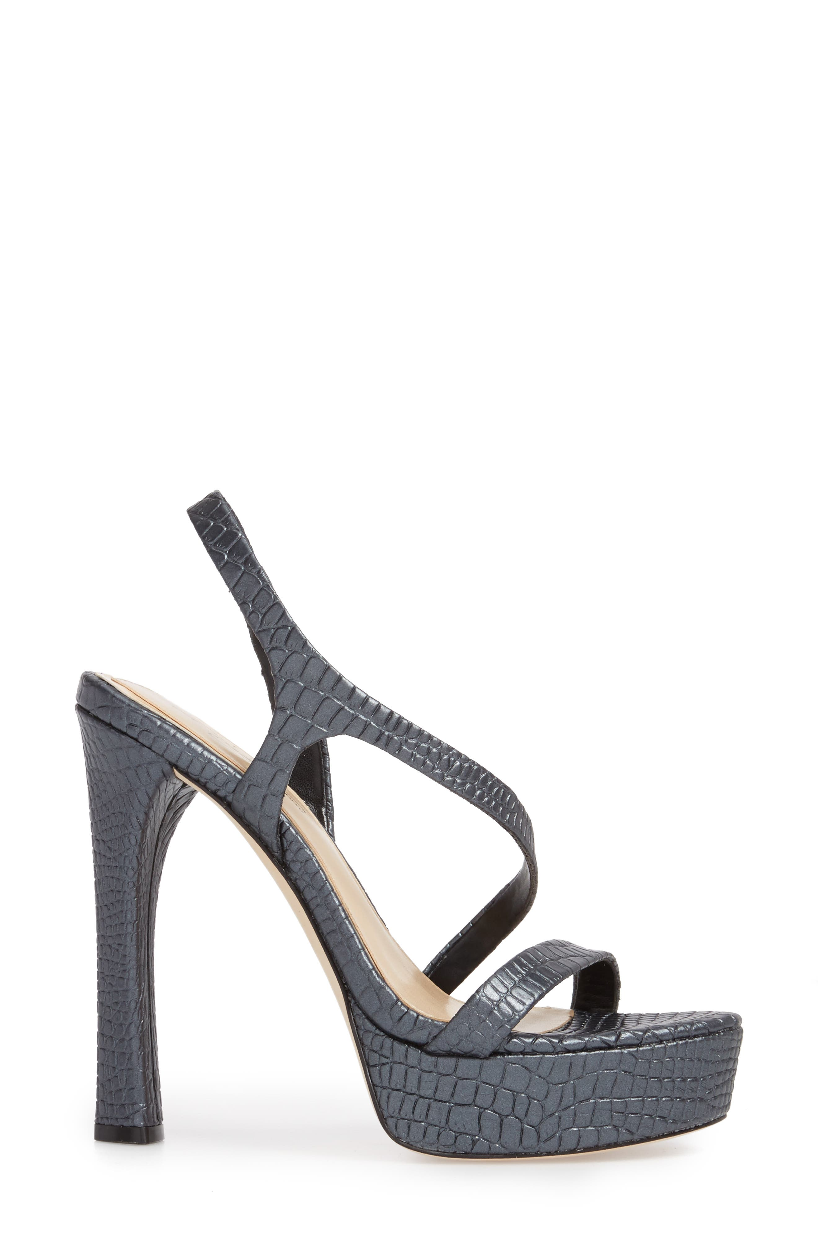 Prent Asymmetrical Platform Sandal,                             Alternate thumbnail 3, color,                             BLACK LEATHER