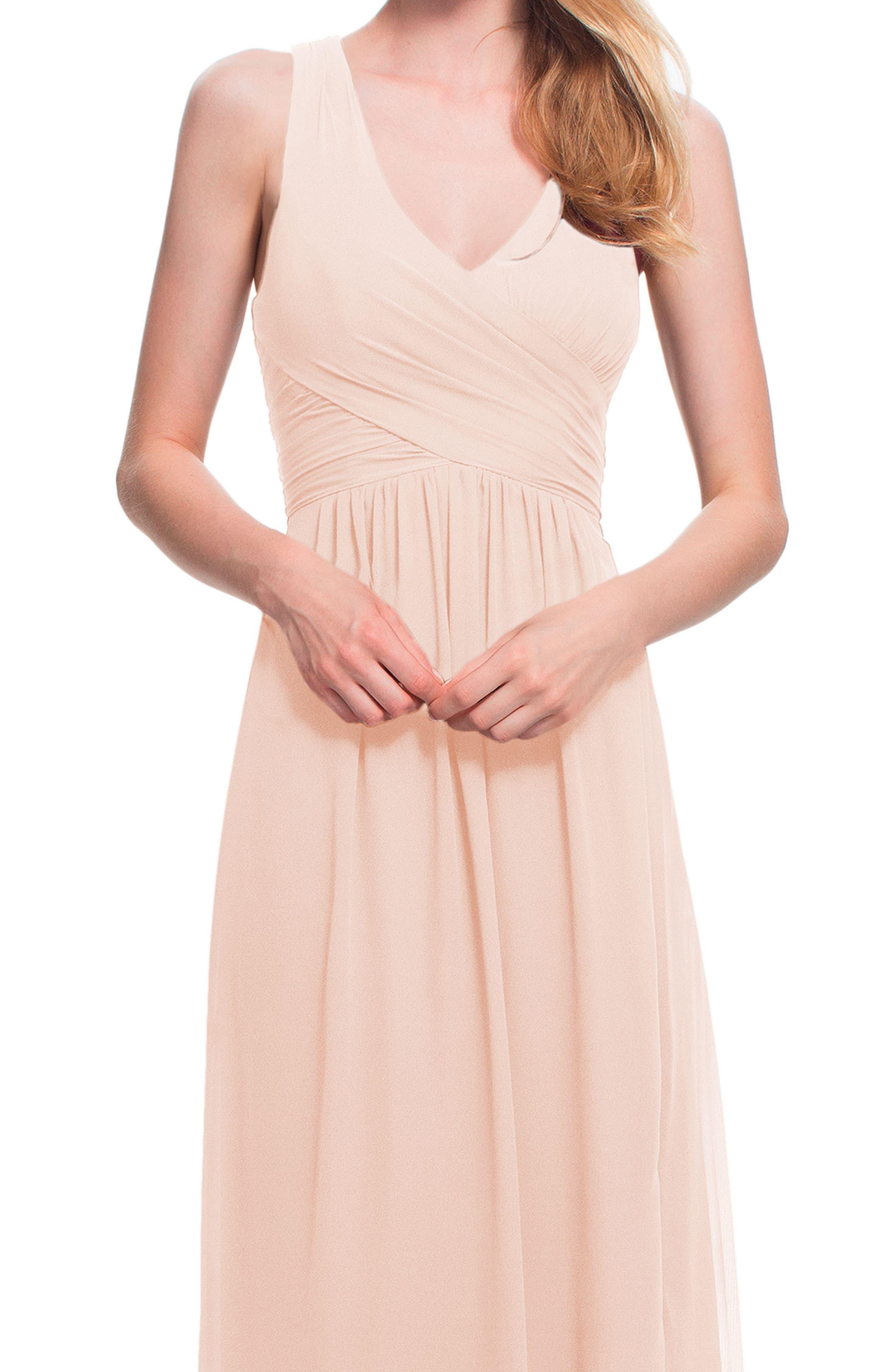 #LEVKOFF,                             Back Cutout Chiffon Gown,                             Alternate thumbnail 3, color,                             PETAL PINK