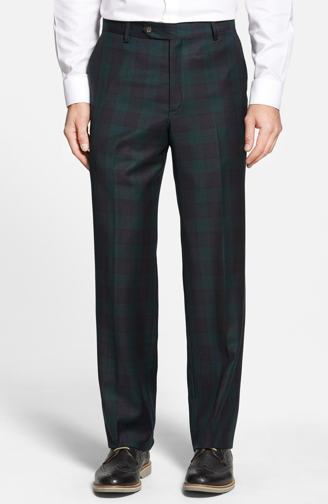 Flat Front Plaid Wool Trousers,                         Main,                         color, GREEN