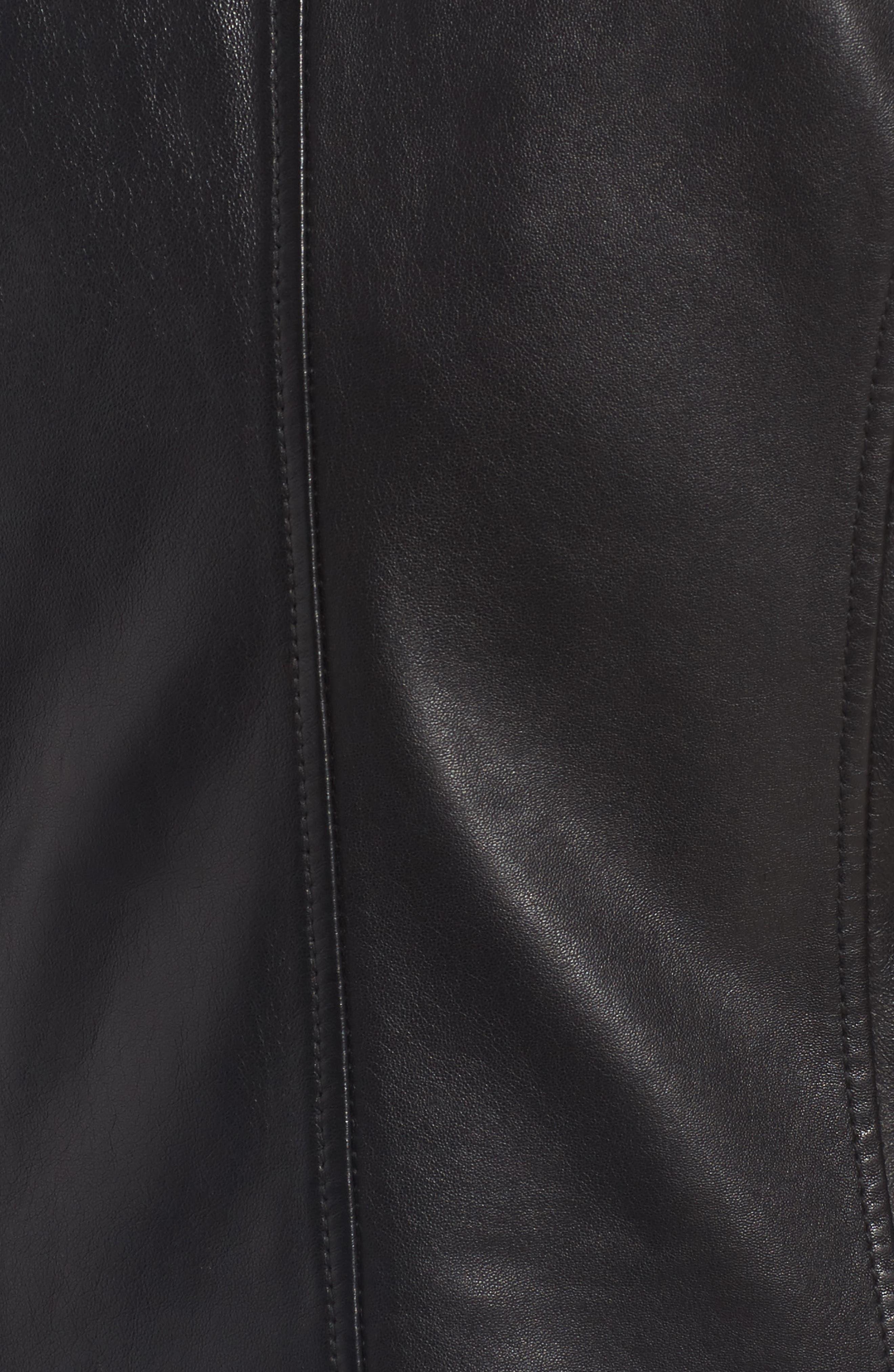 Patch Pocket Leather Biker Jacket,                             Alternate thumbnail 6, color,                             BLACK