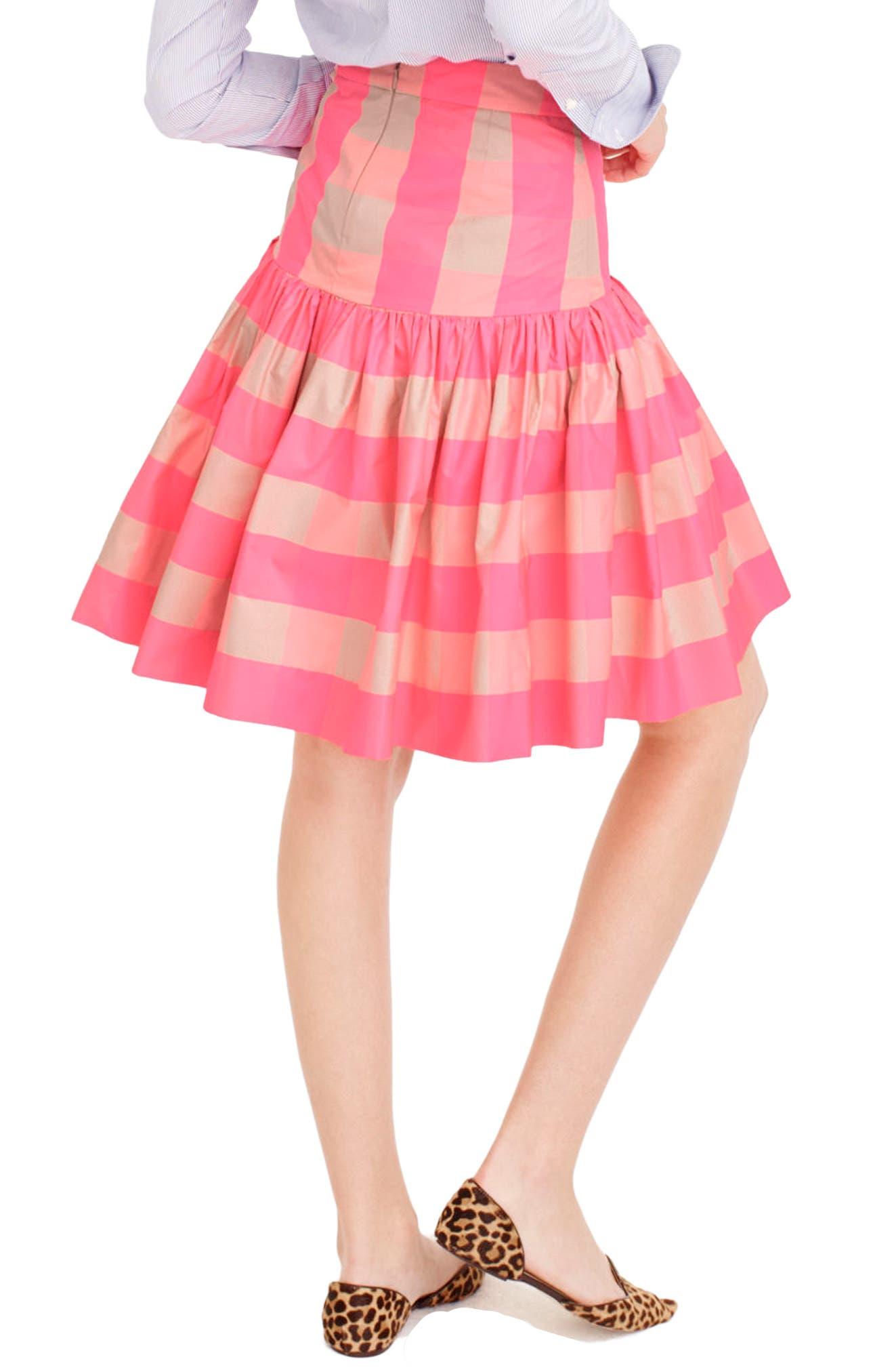Neon Buffalo Check Taffeta Skirt,                             Alternate thumbnail 2, color,                             651