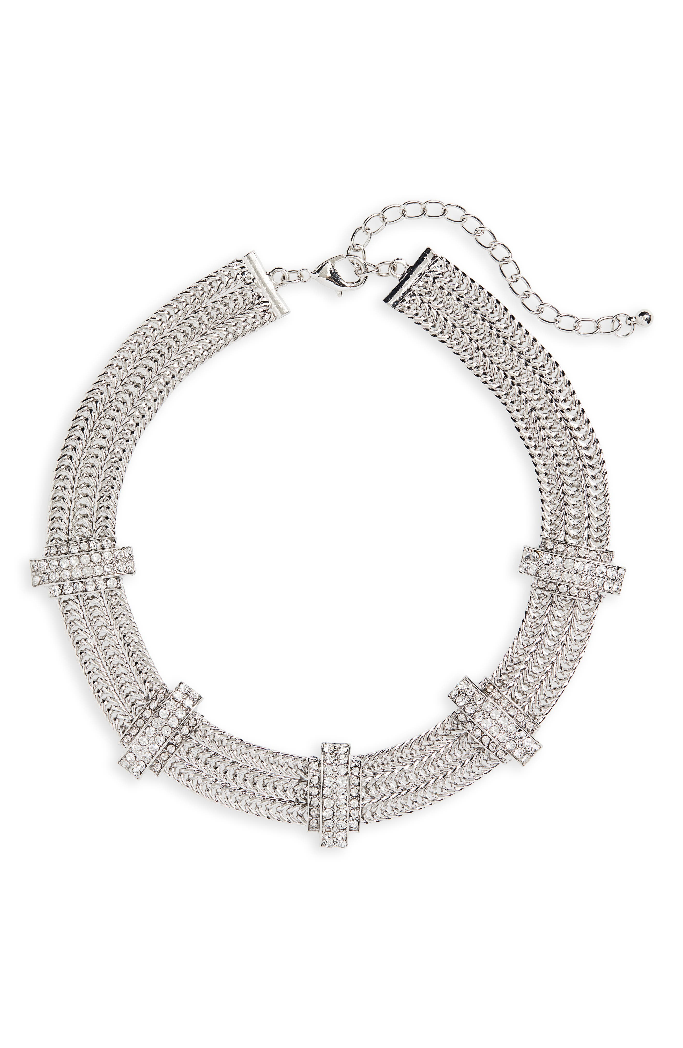 Crystal Statement Collar Necklace,                         Main,                         color, SILVER/ CRYSTAL