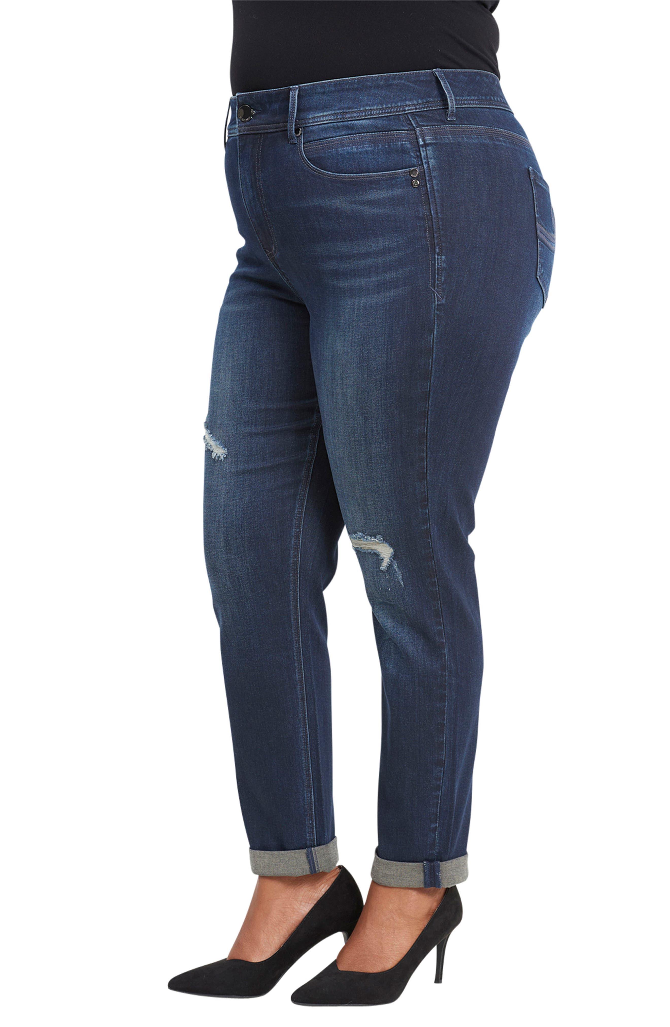 Tummyless High Rise Roll Cuff Slim Fit Jeans,                             Alternate thumbnail 3, color,                             TWAIN
