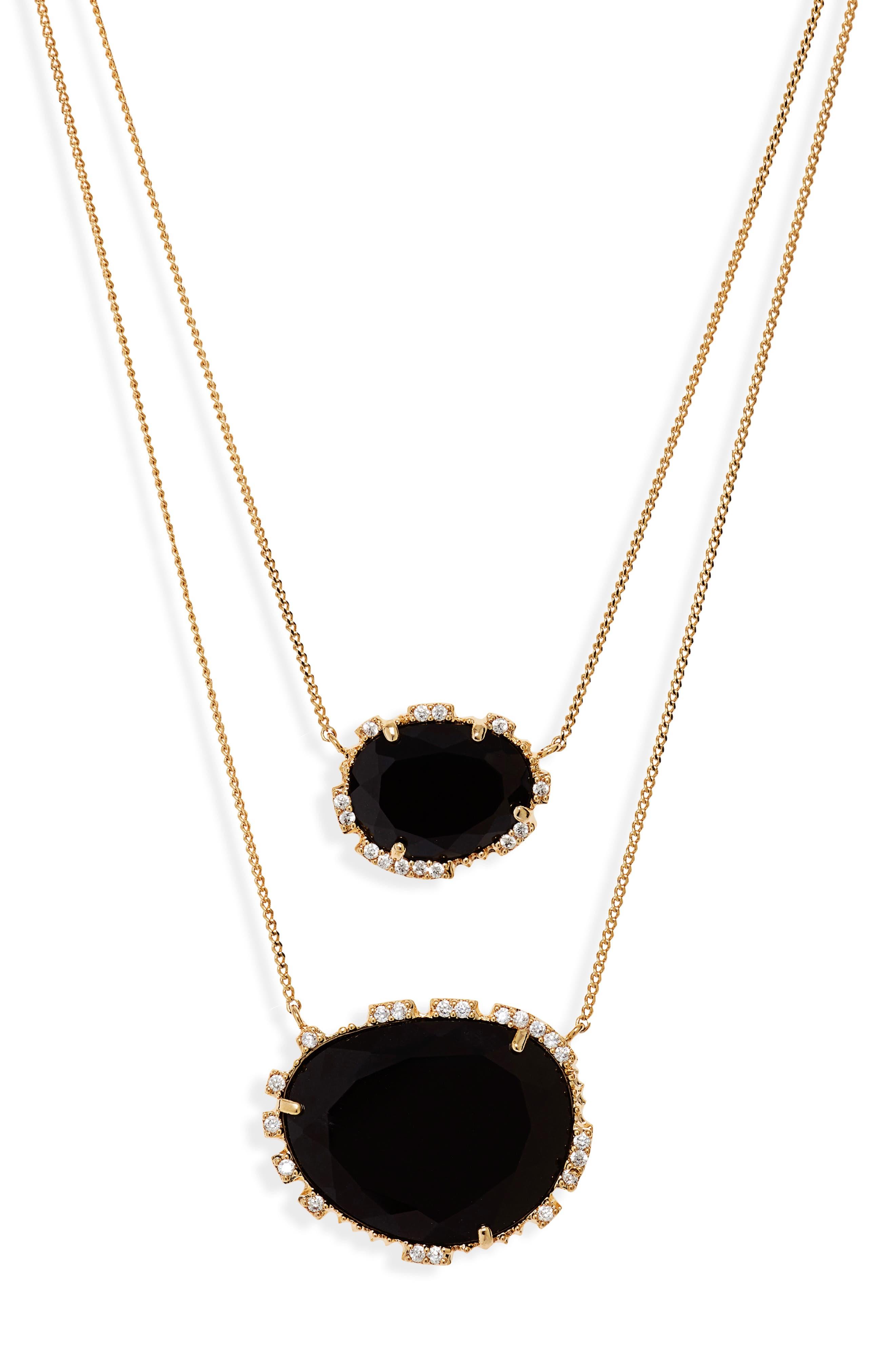 SEREFINA Double Stone Pendant Necklace in Black