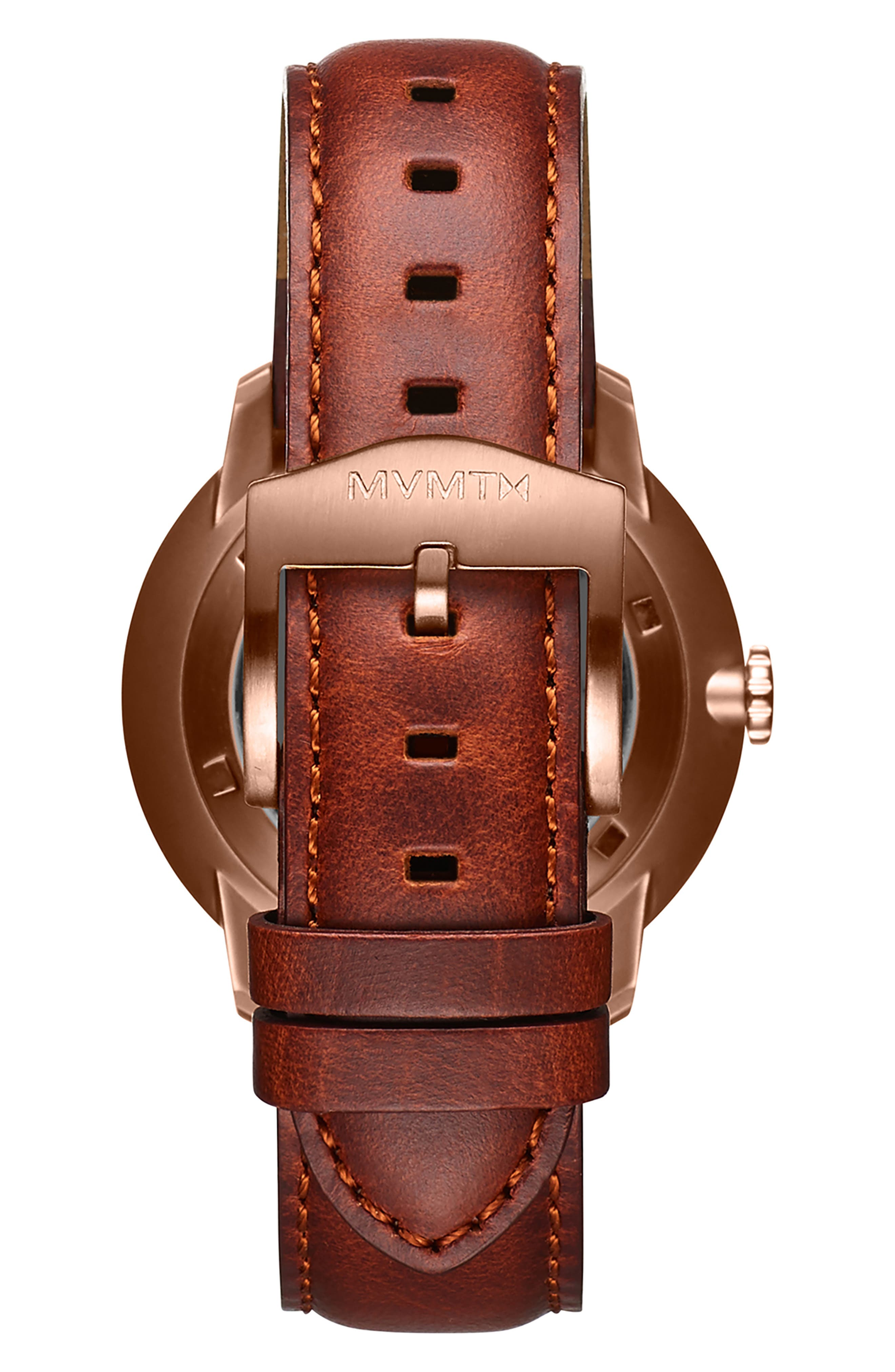 MVMT,                             Arc Automatic Leather Strap Watch,                             Alternate thumbnail 2, color,                             WHITE/ NATURAL