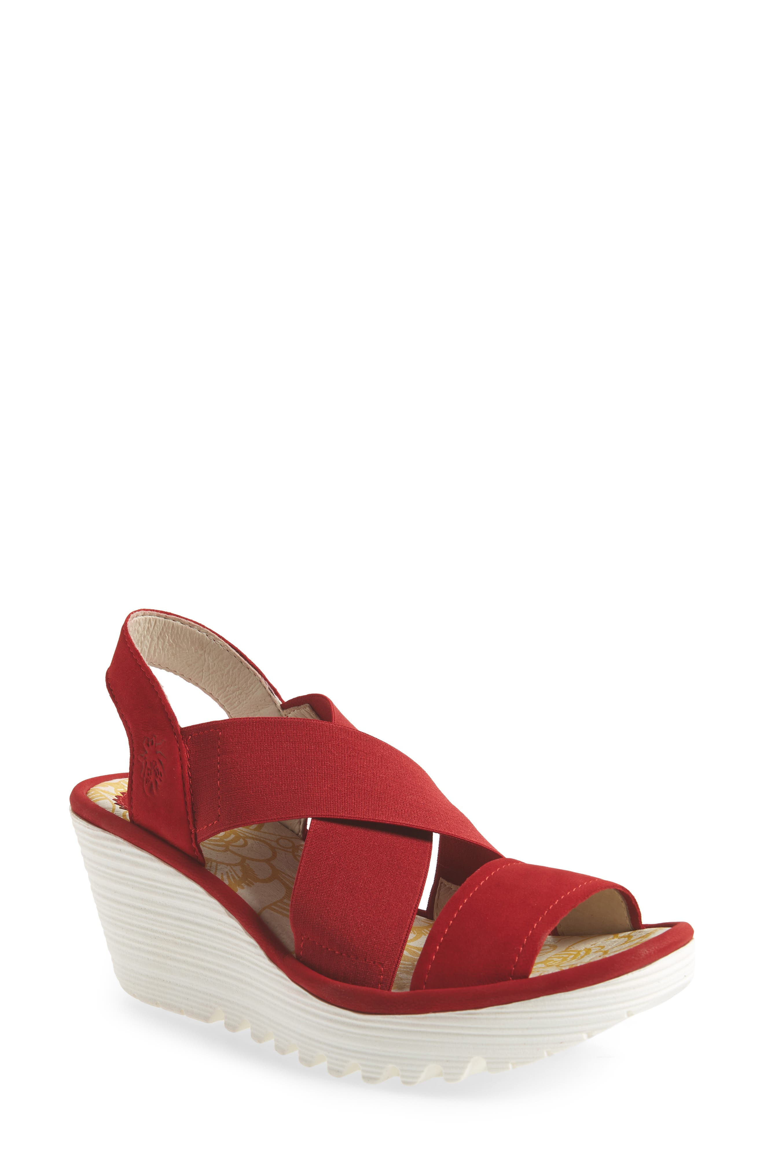 Yaji Cross Wedge Sandal,                             Main thumbnail 1, color,                             RED LEATHER