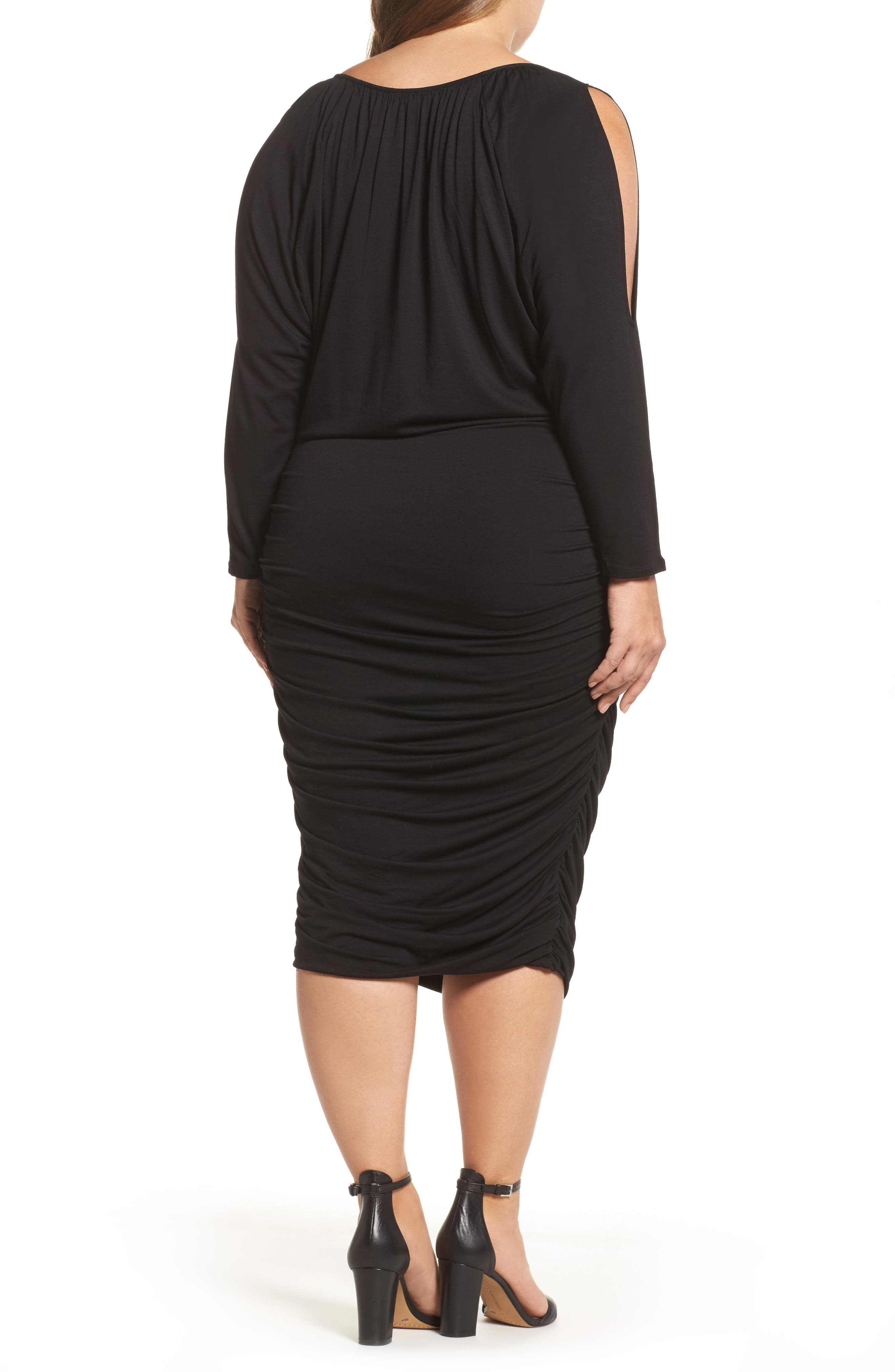 Slit Sleeve Knit Sheath Dress,                             Alternate thumbnail 2, color,                             010