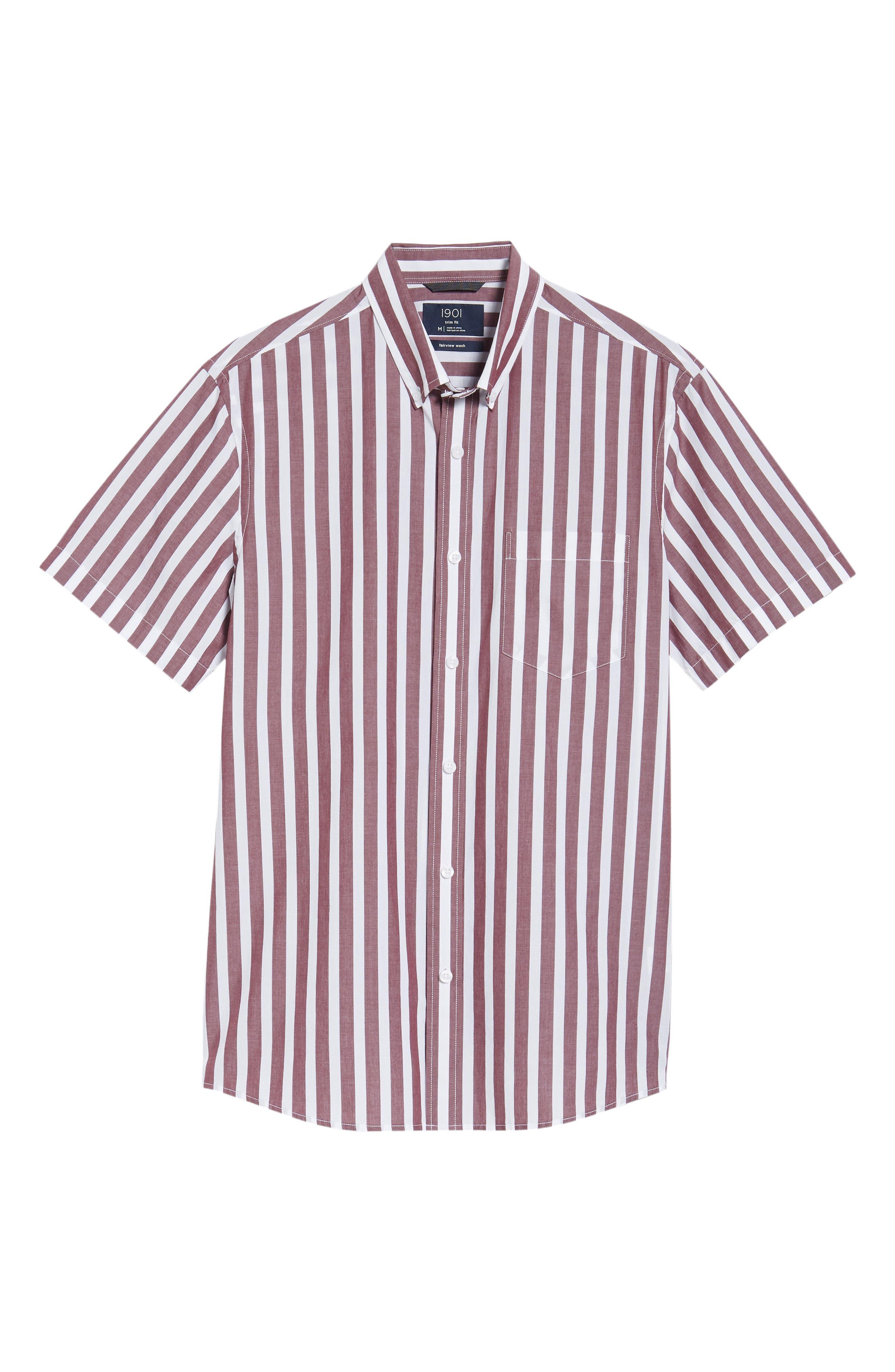 Ivy Trim Fit Stripe Sport Shirt,                             Alternate thumbnail 6, color,                             938