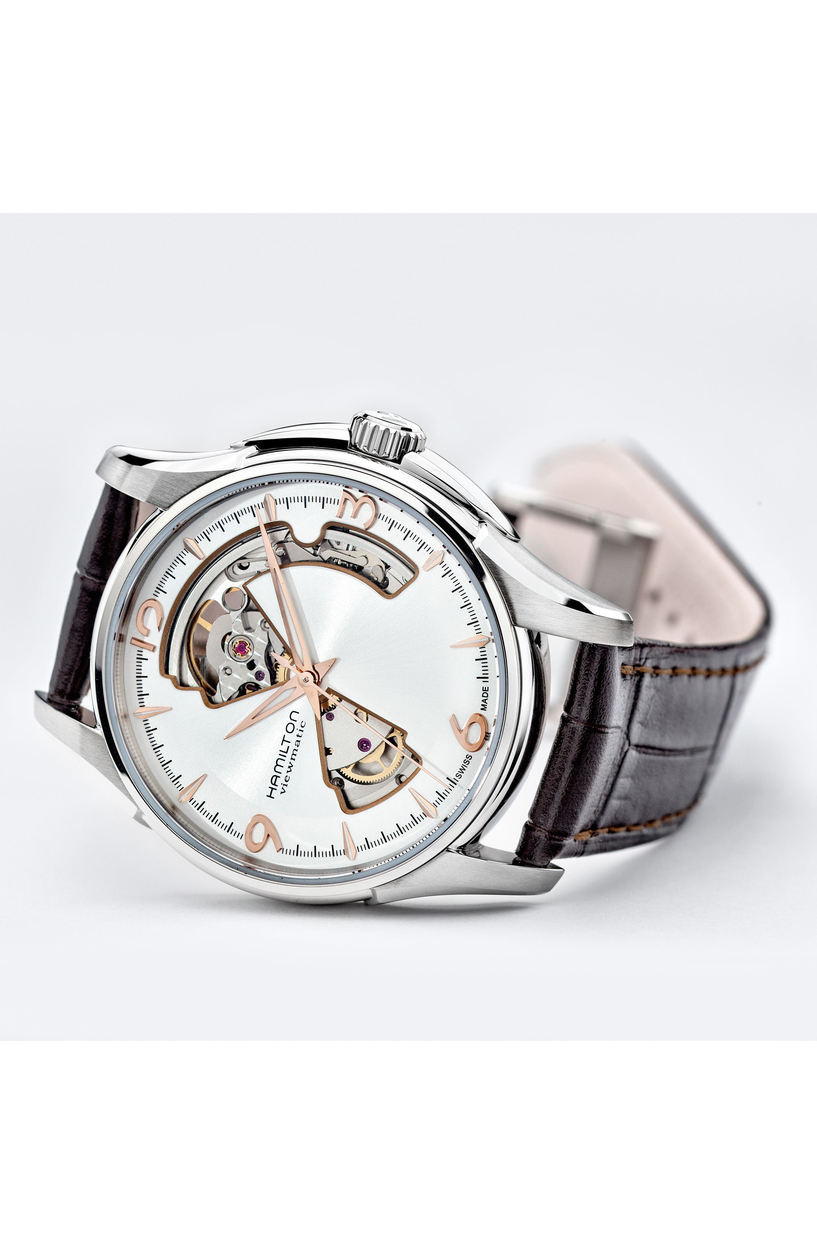 Jazzmaster Open Heart Automatic Leather Strap Watch, 40mm,                             Alternate thumbnail 4, color,                             BROWN/ SILVER