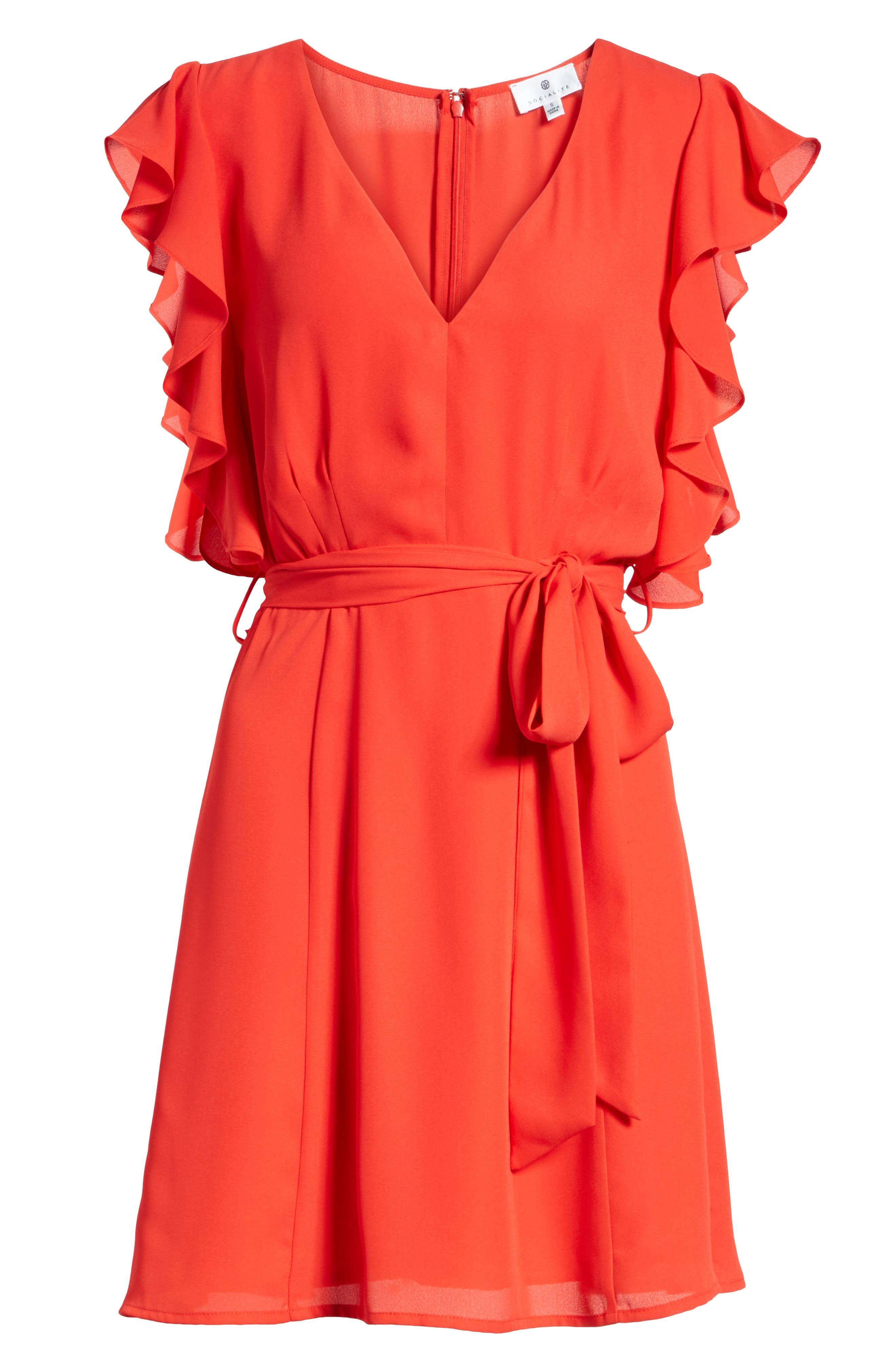Ruffle Sleeve Dress,                             Alternate thumbnail 13, color,