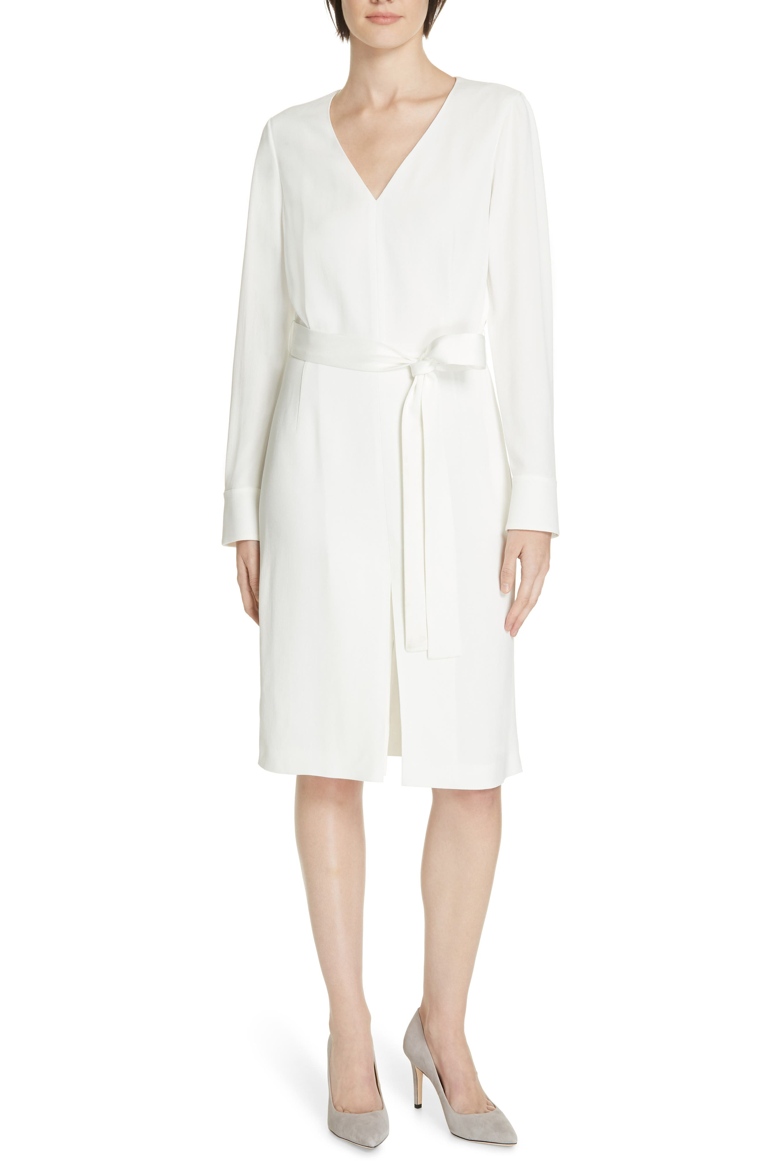 Boss Dulca Belted Dress, White