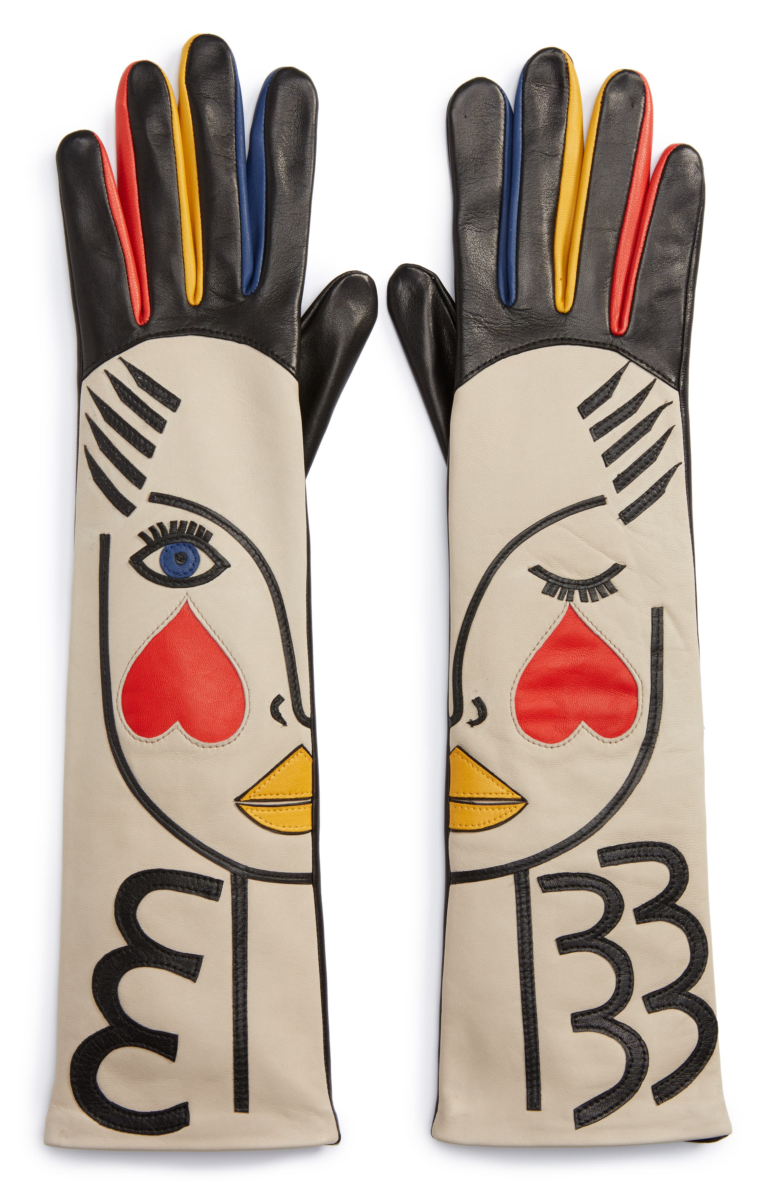 Double Moi Lambskin Leather Gloves,                             Alternate thumbnail 2, color,                             600
