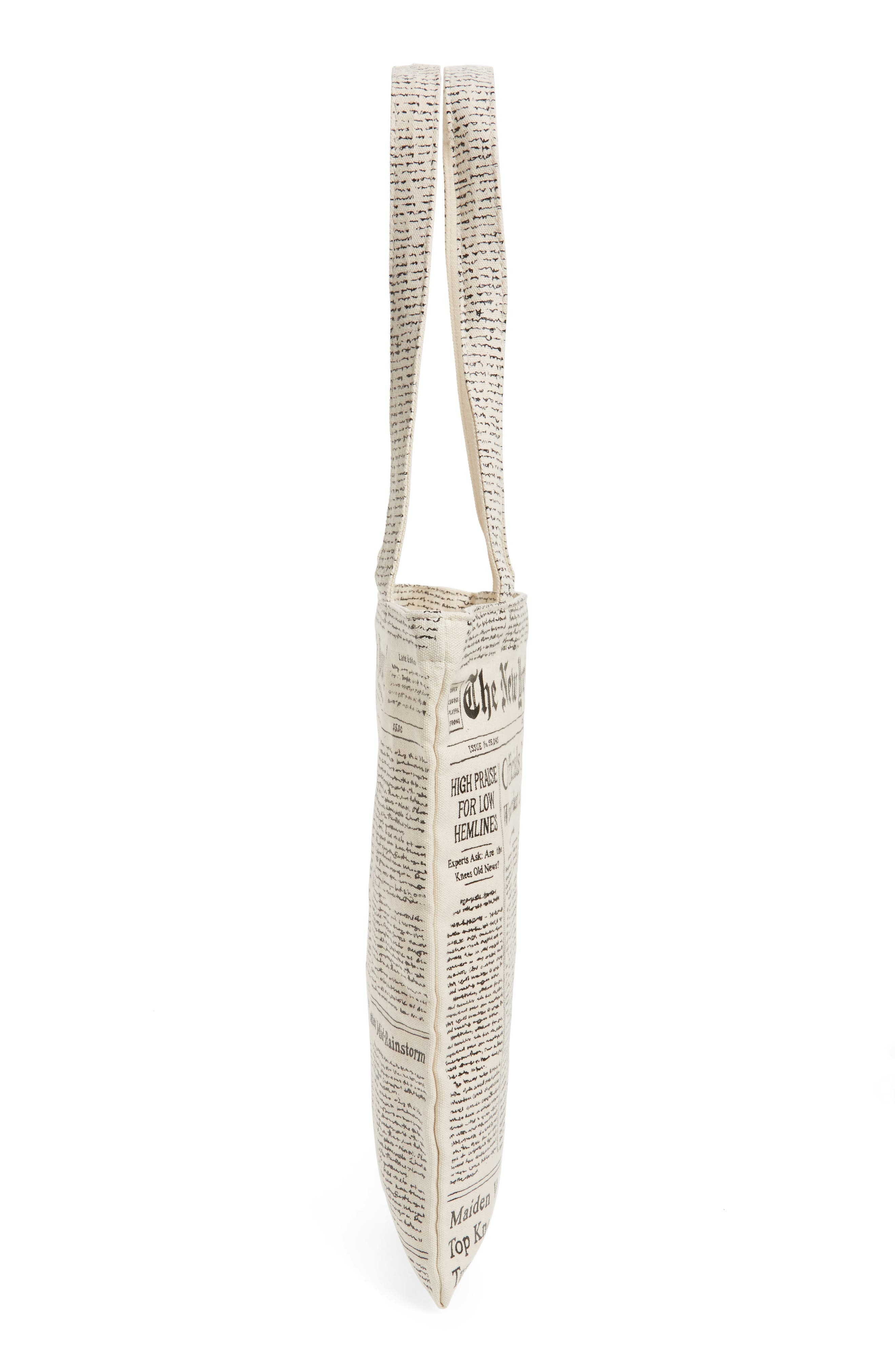 newspaper print canvas shopping tote,                             Alternate thumbnail 6, color,                             001