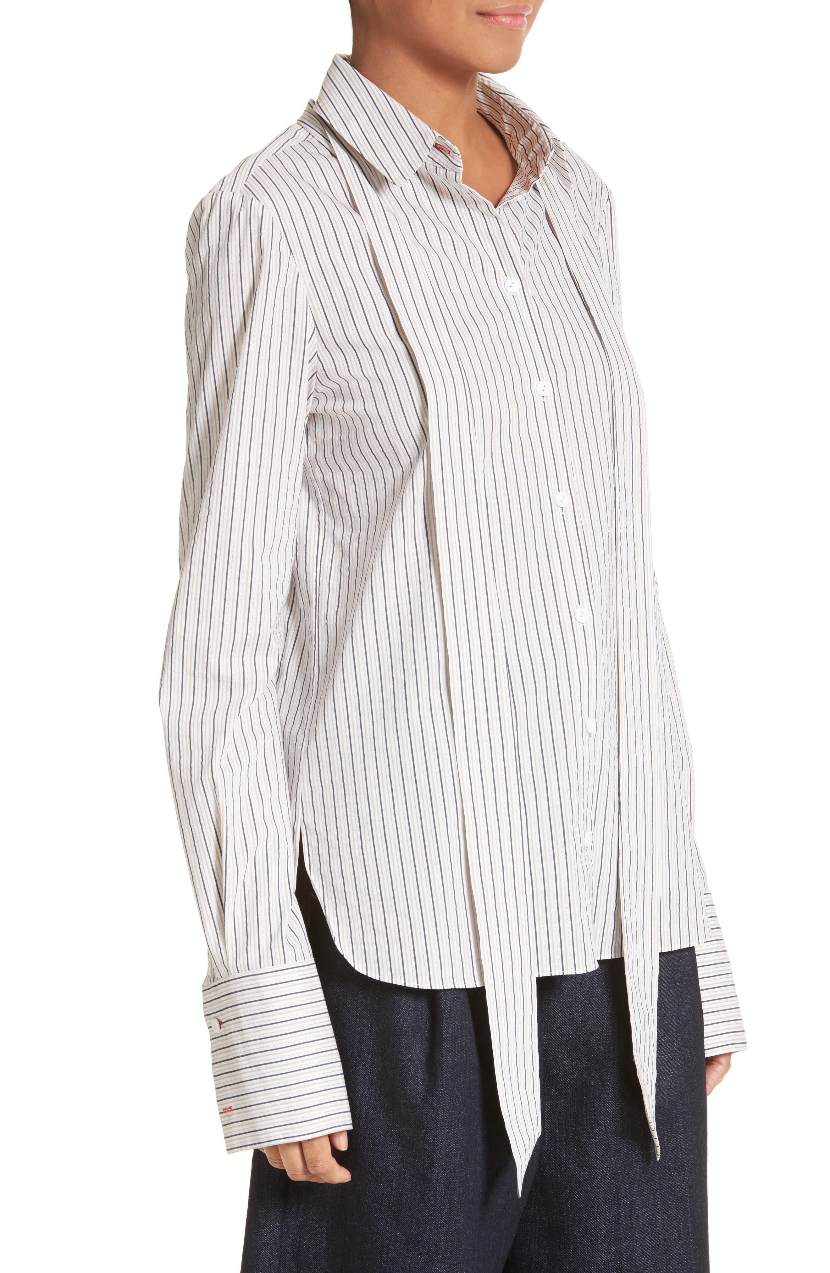 Stripe Slim Tie Neck Shirt,                             Alternate thumbnail 4, color,                             200