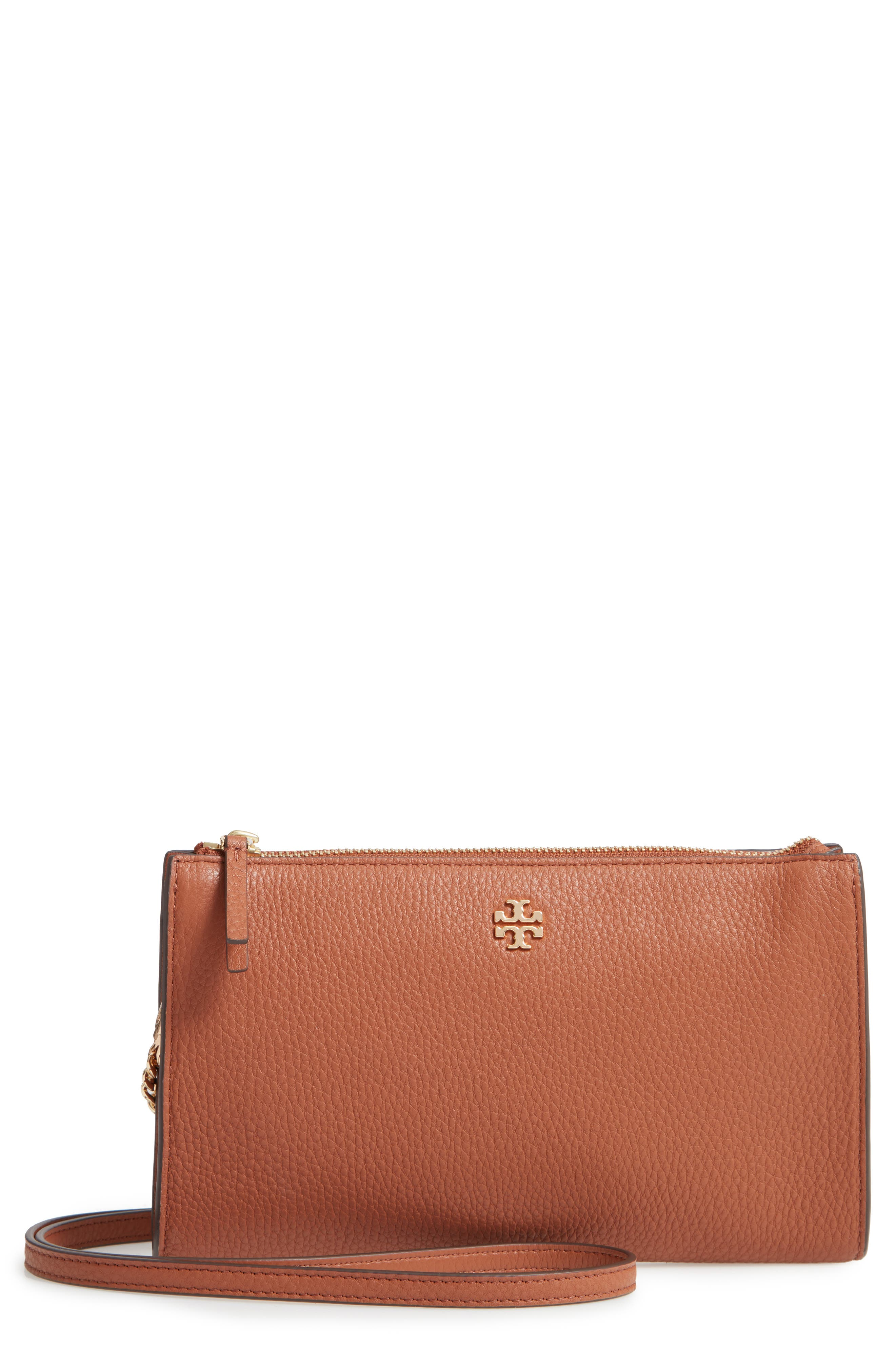 TORY BURCH,                             Pebbled Leather Top Zip Crossbody Bag,                             Main thumbnail 1, color,                             CLASSIC TAN