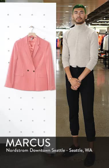 Longline Double Breasted Button Suit Jacket, sales video thumbnail