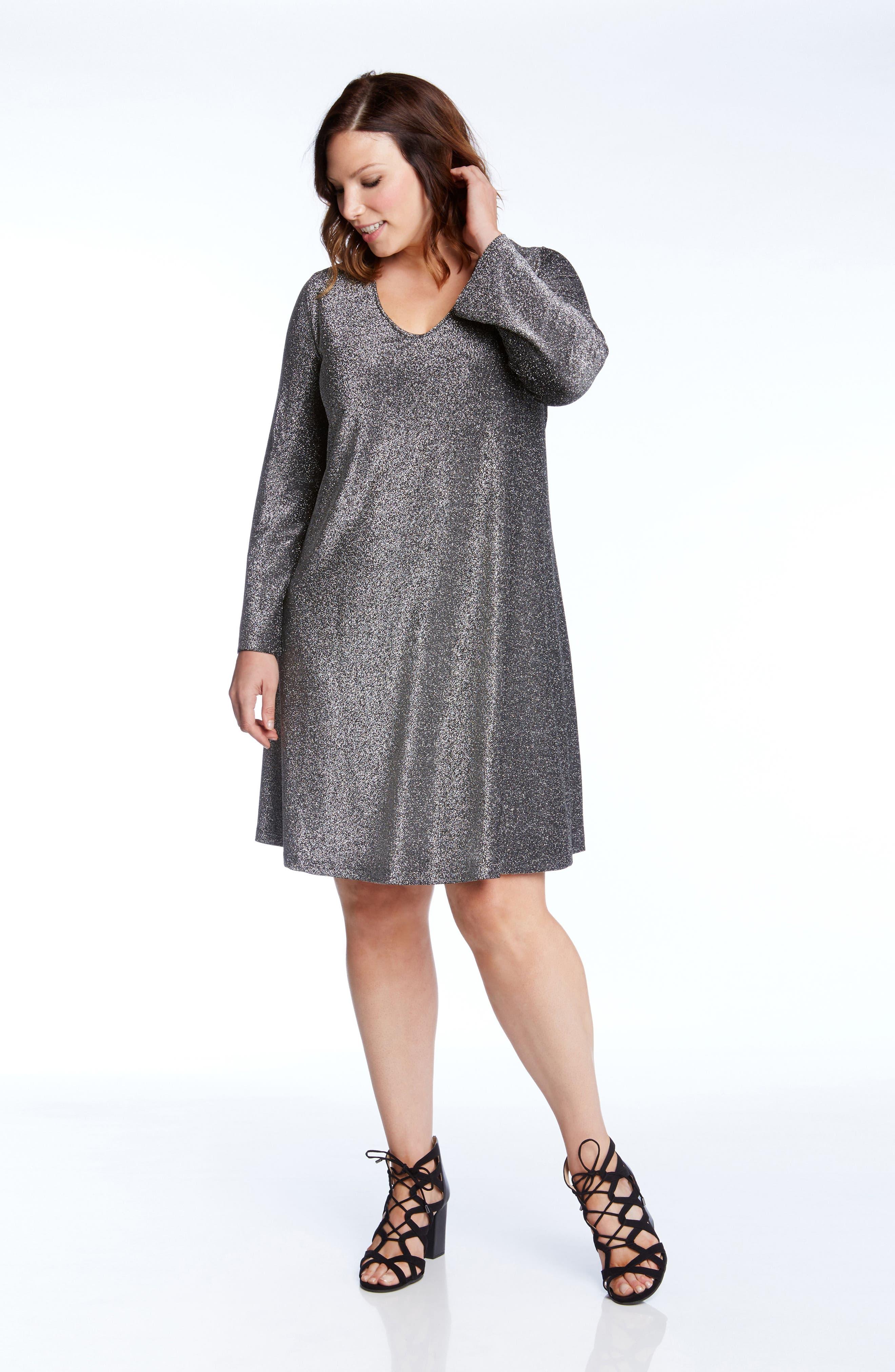 Taylor Sparkle A-Line Dress,                             Alternate thumbnail 3, color,                             044