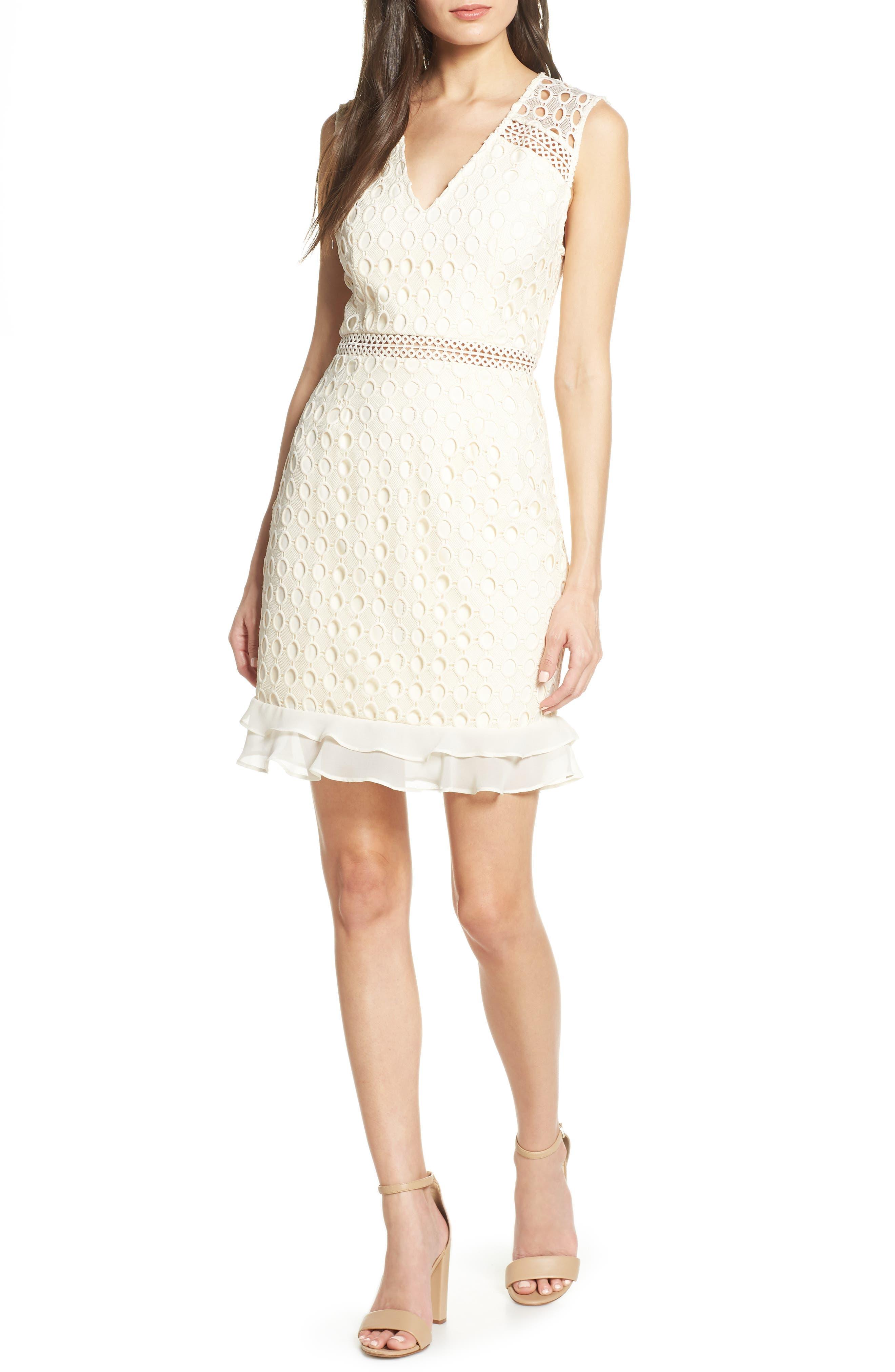 Cooper St Blondie Geo Lace Dress, Ivory