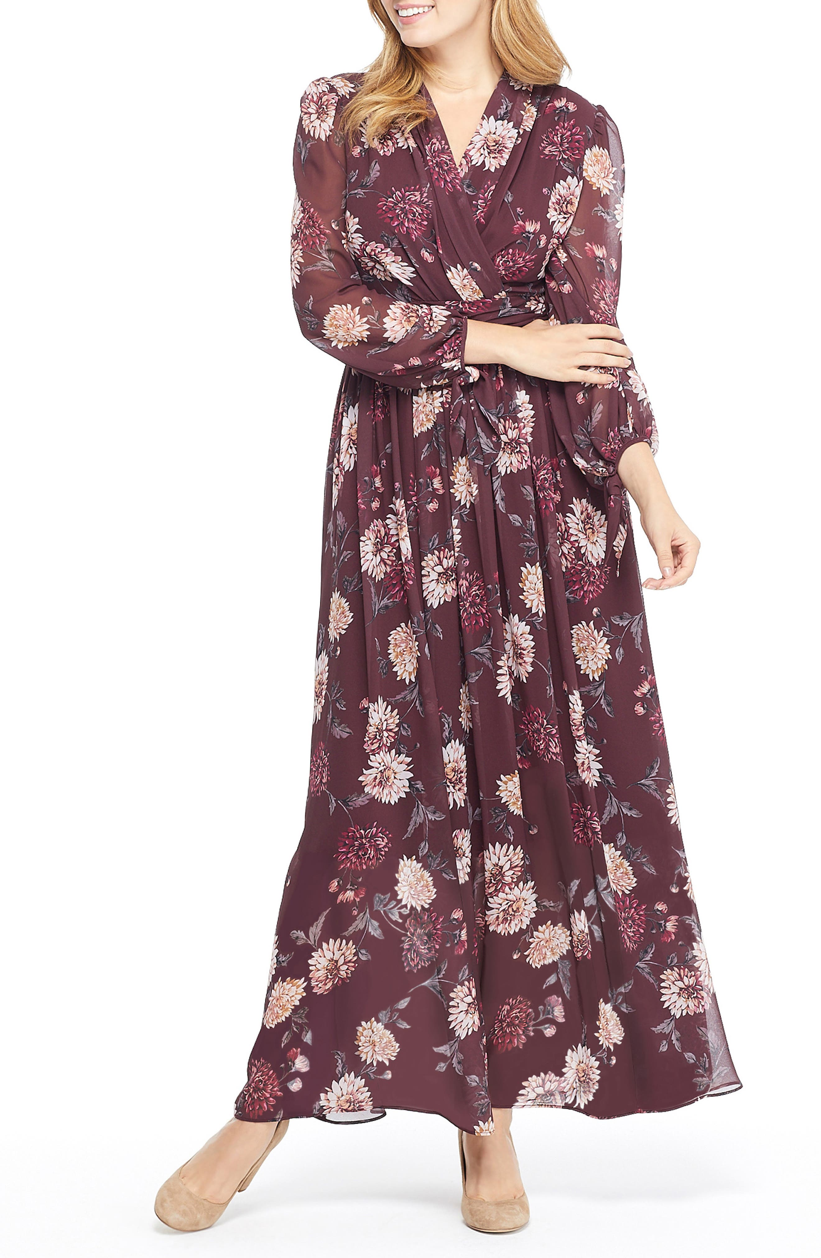 GAL MEETS GLAM COLLECTION,                             Georgia Chiffon Maxi Dress,                             Alternate thumbnail 4, color,                             WINE/ VELVET ROSE