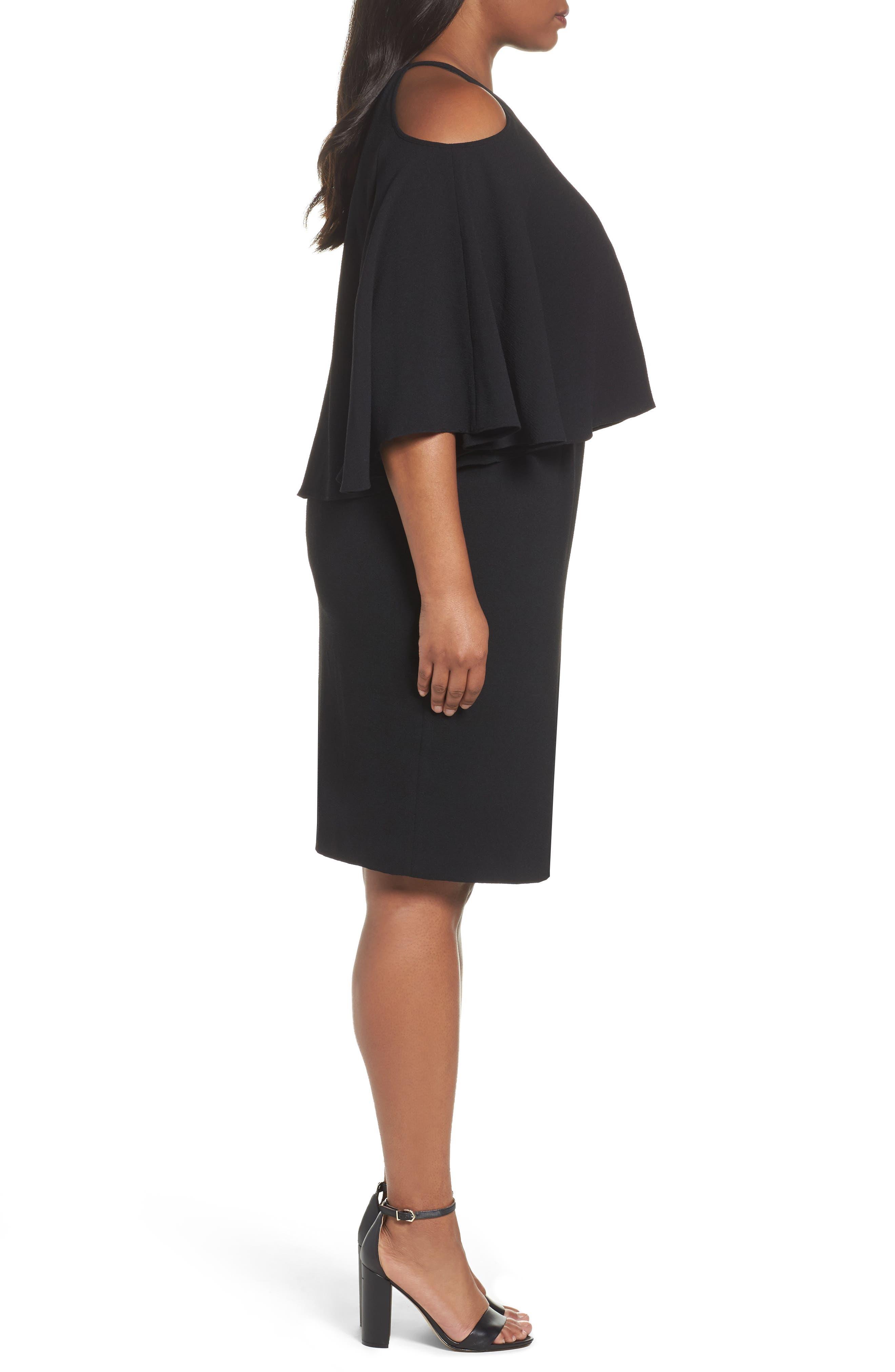 Cold Shoulder Crepe Sheath Dress,                             Alternate thumbnail 5, color,