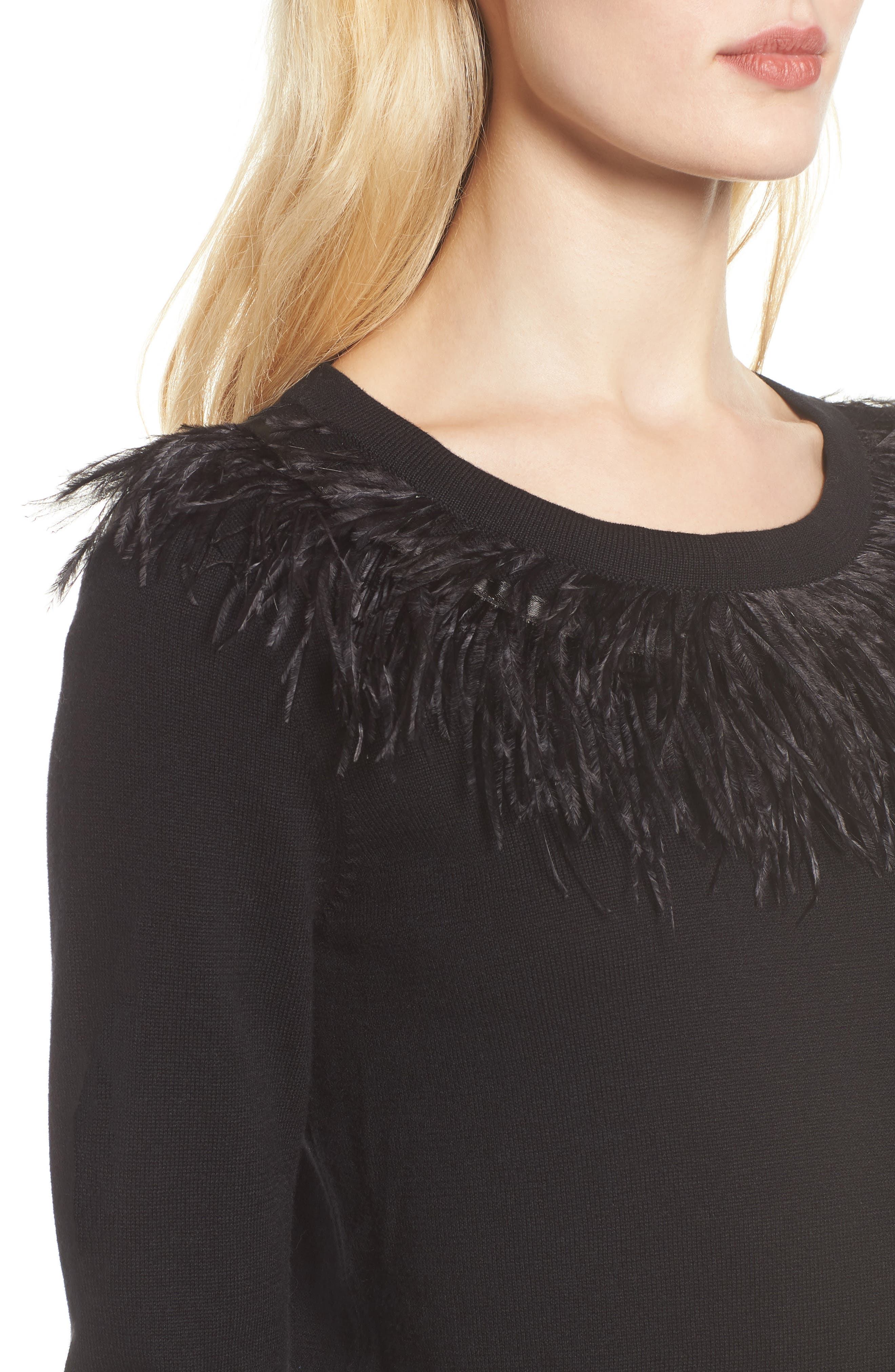 VINCE CAMUTO,                             Feather Collar Sweater,                             Alternate thumbnail 4, color,                             006