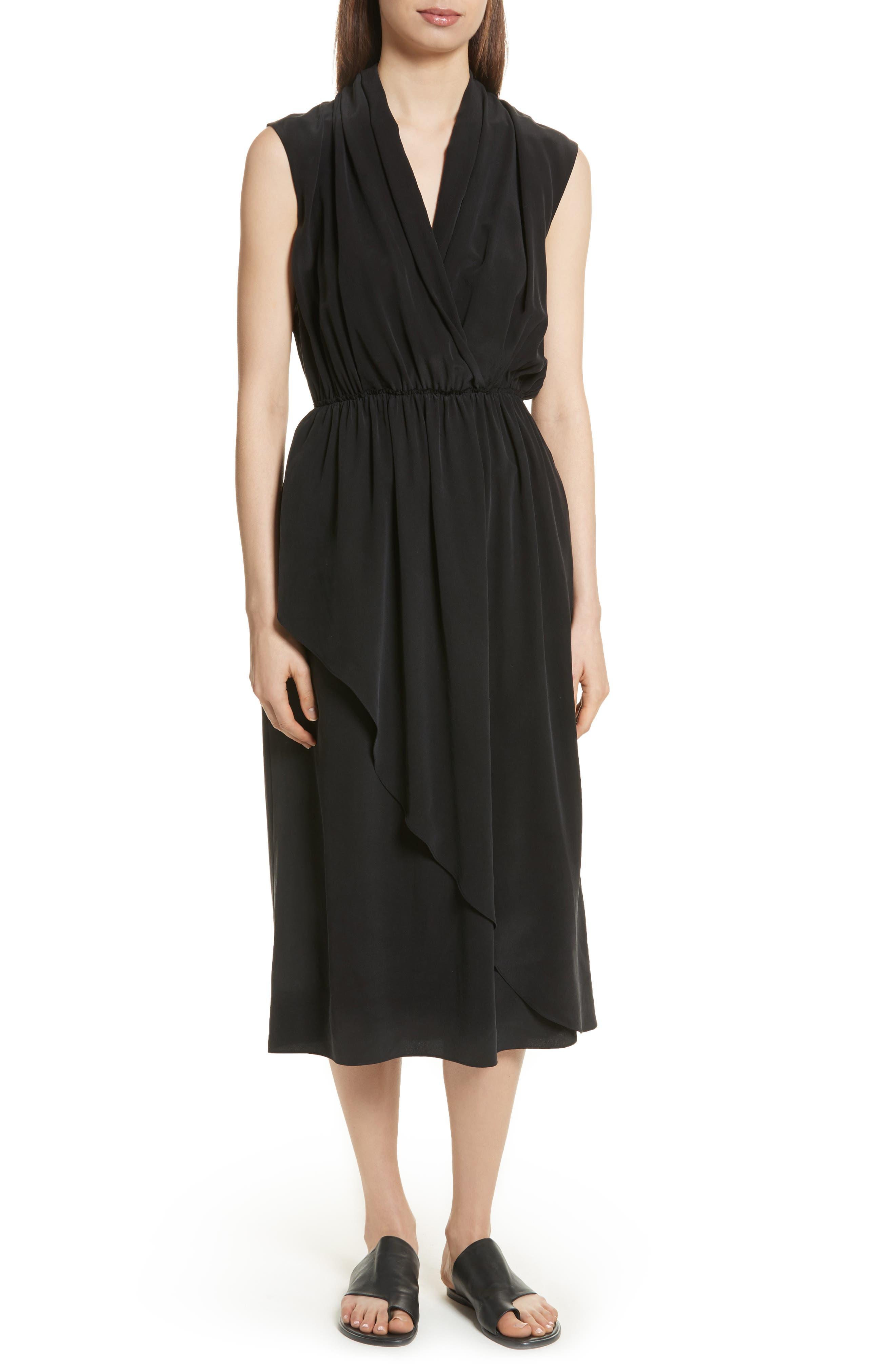 VINCE Draped Silk Cross Front Dress, Main, color, 001