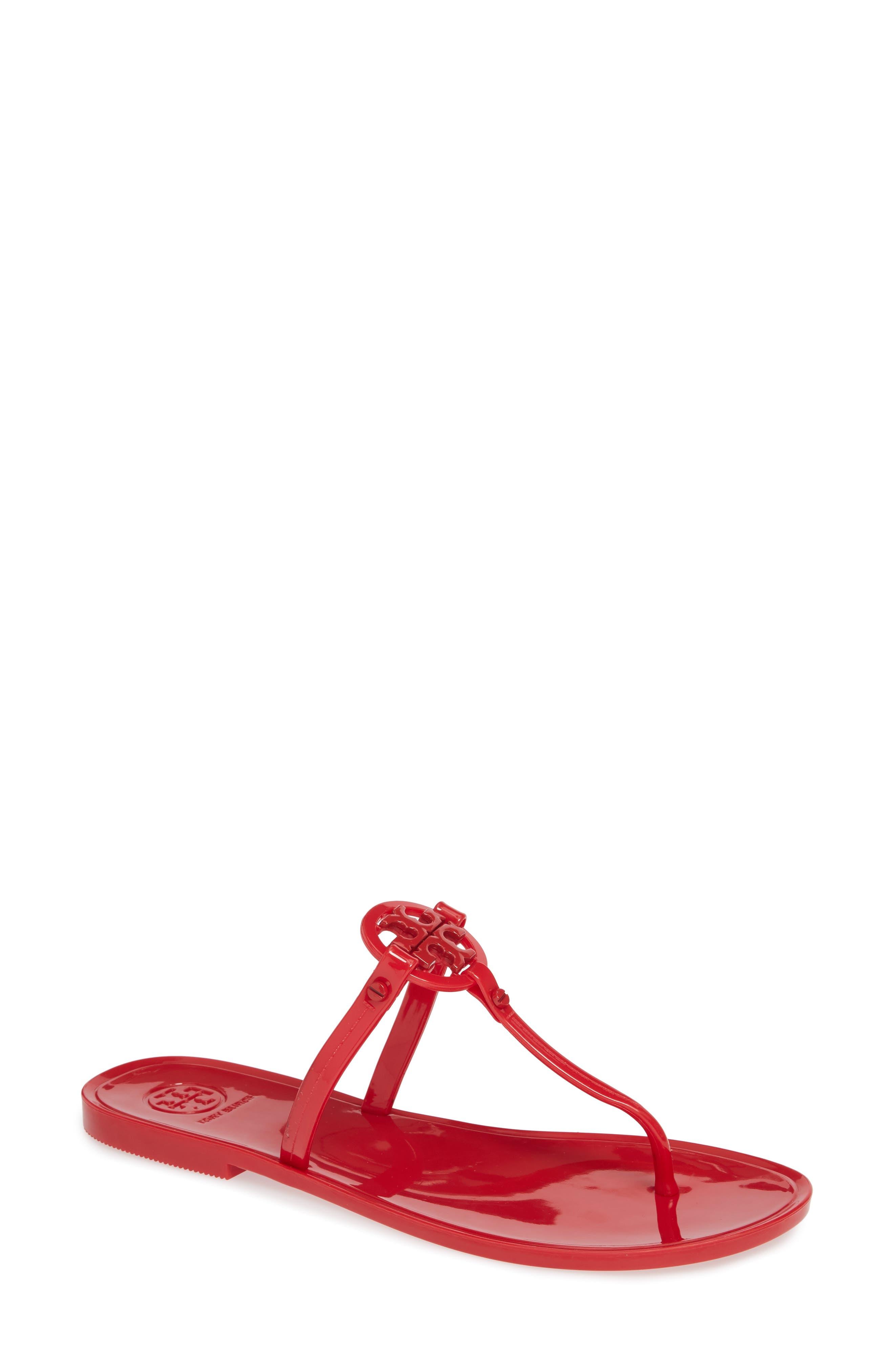 'Mini Miller' Flat Sandal,                             Main thumbnail 1, color,                             BRILLIANT RED