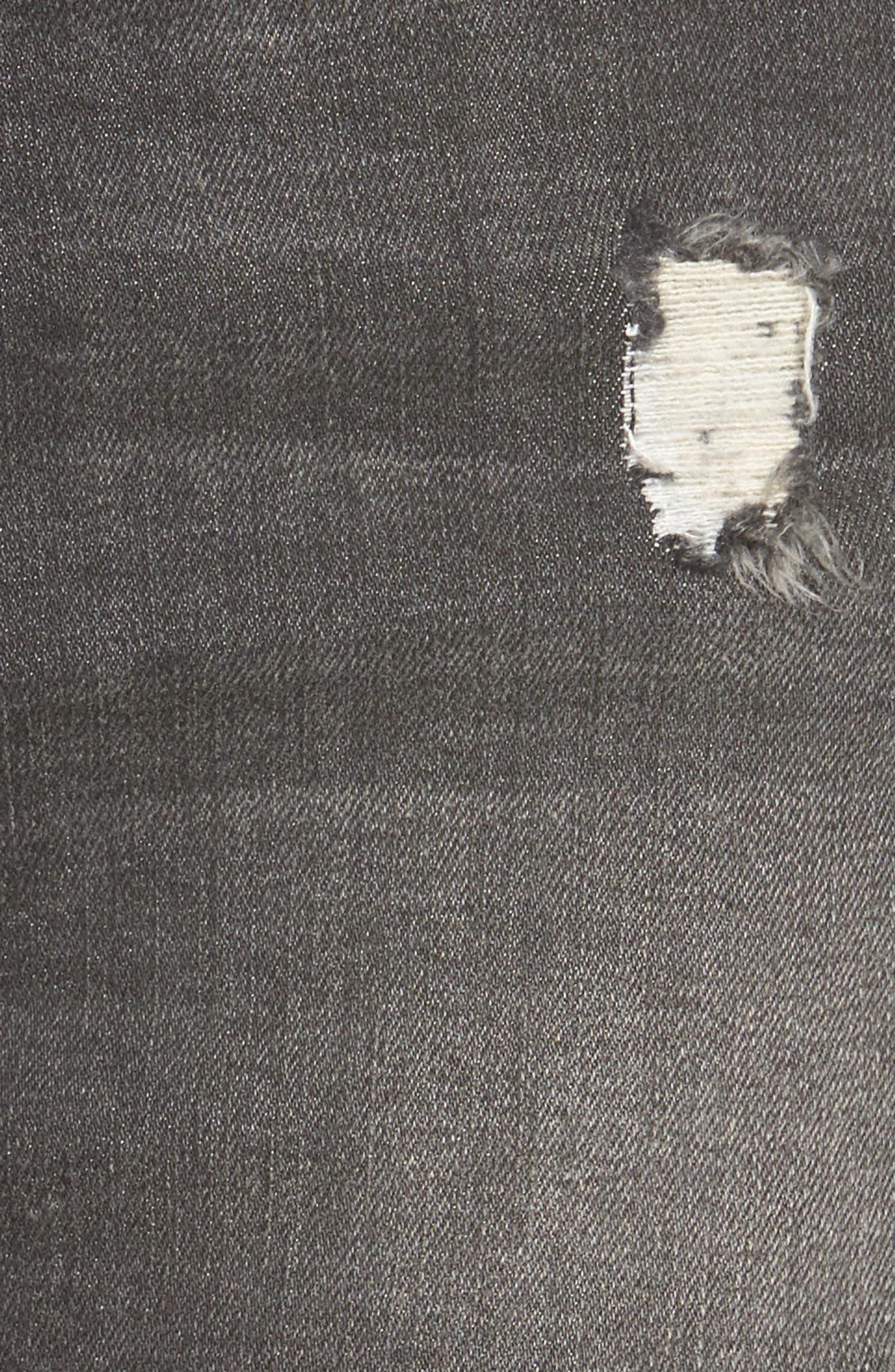 Frayed Hem Denim Shorts,                             Alternate thumbnail 5, color,                             001