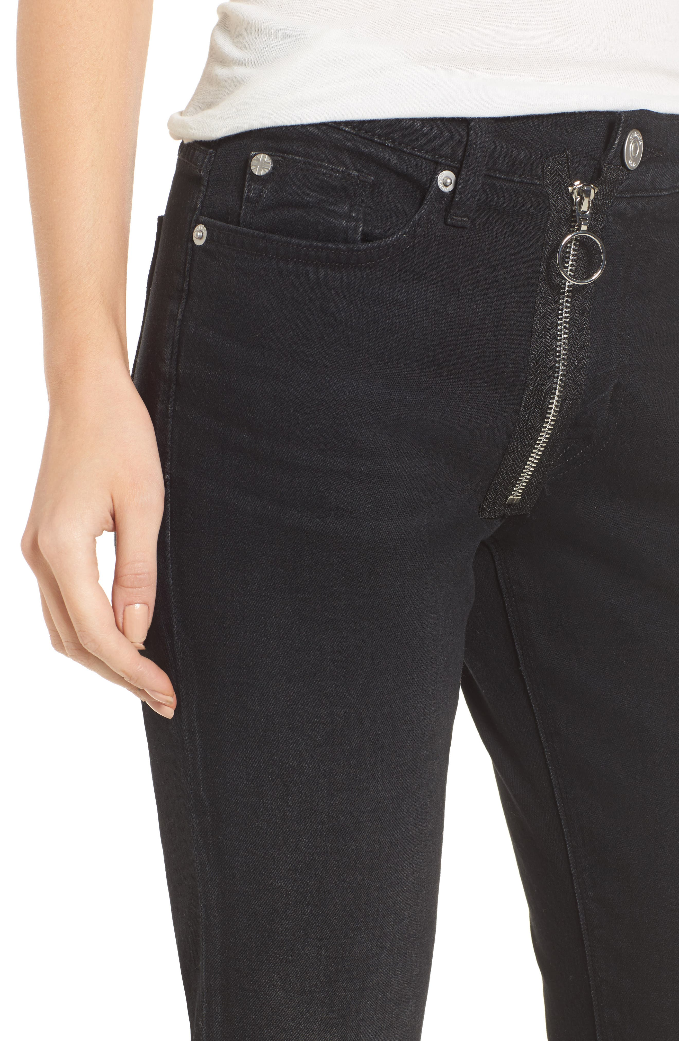 Riley Relaxed Straight Fit Jeans,                             Alternate thumbnail 4, color,                             001