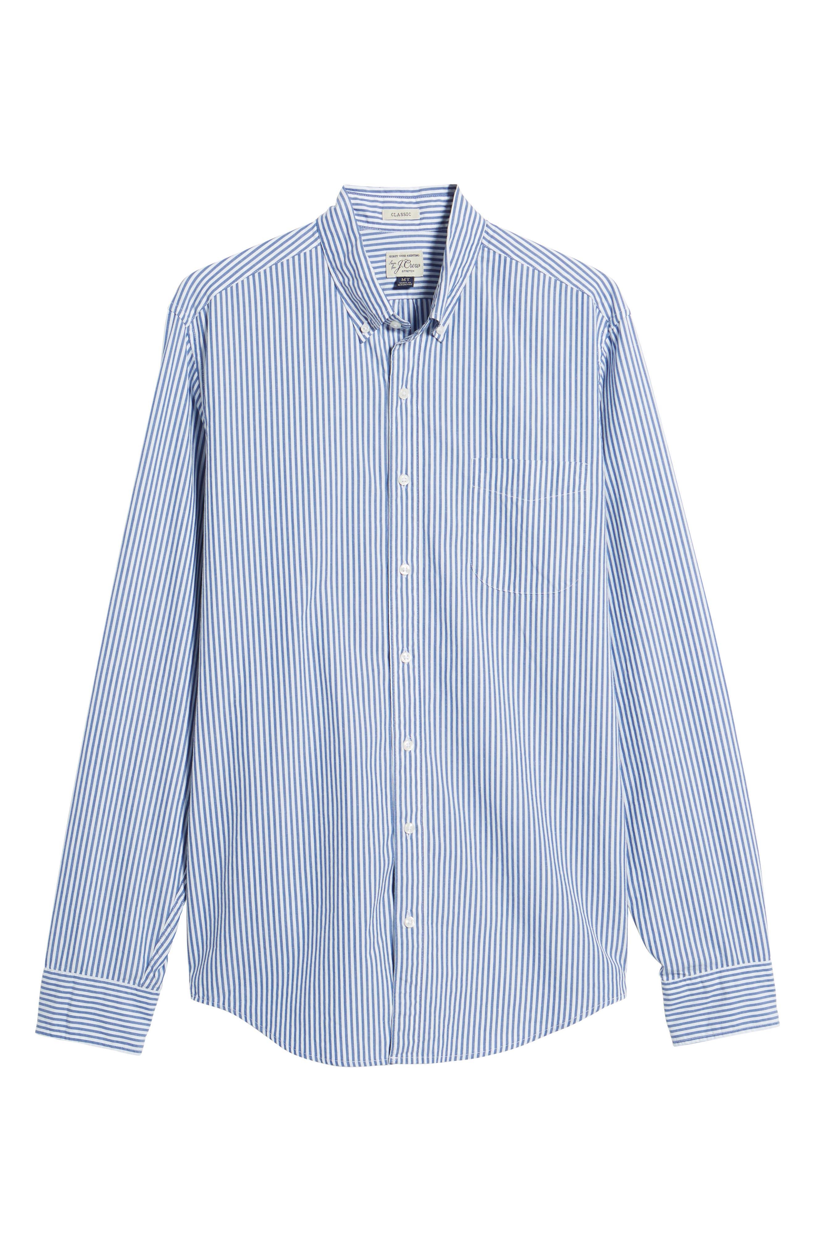 Classic Fit Stretch Secret Wash Stripe Sport Shirt,                             Alternate thumbnail 6, color,                             408
