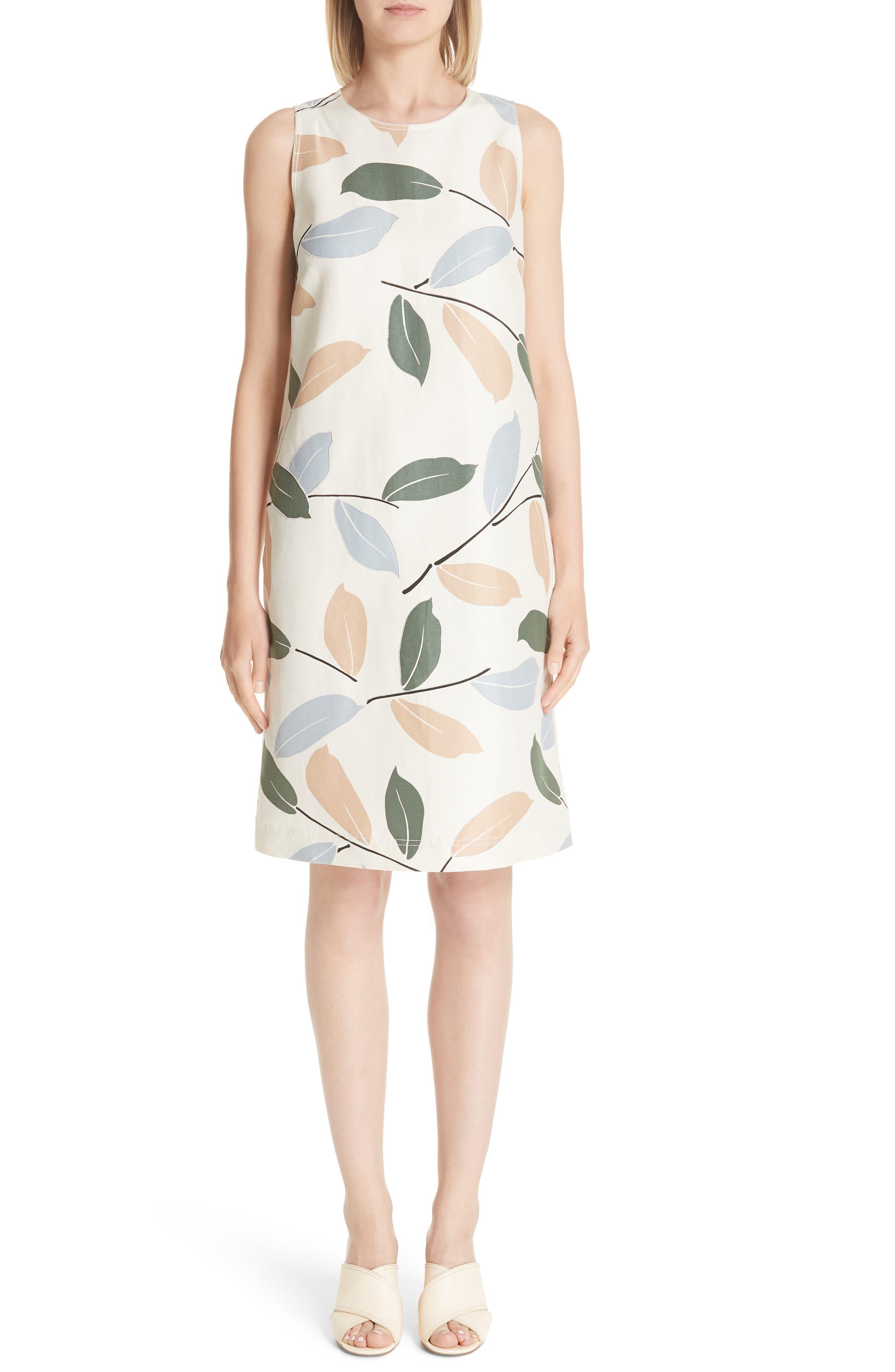 Hana Linen & Cotton Shift Dress,                             Main thumbnail 1, color,                             RAFFIA MULTI