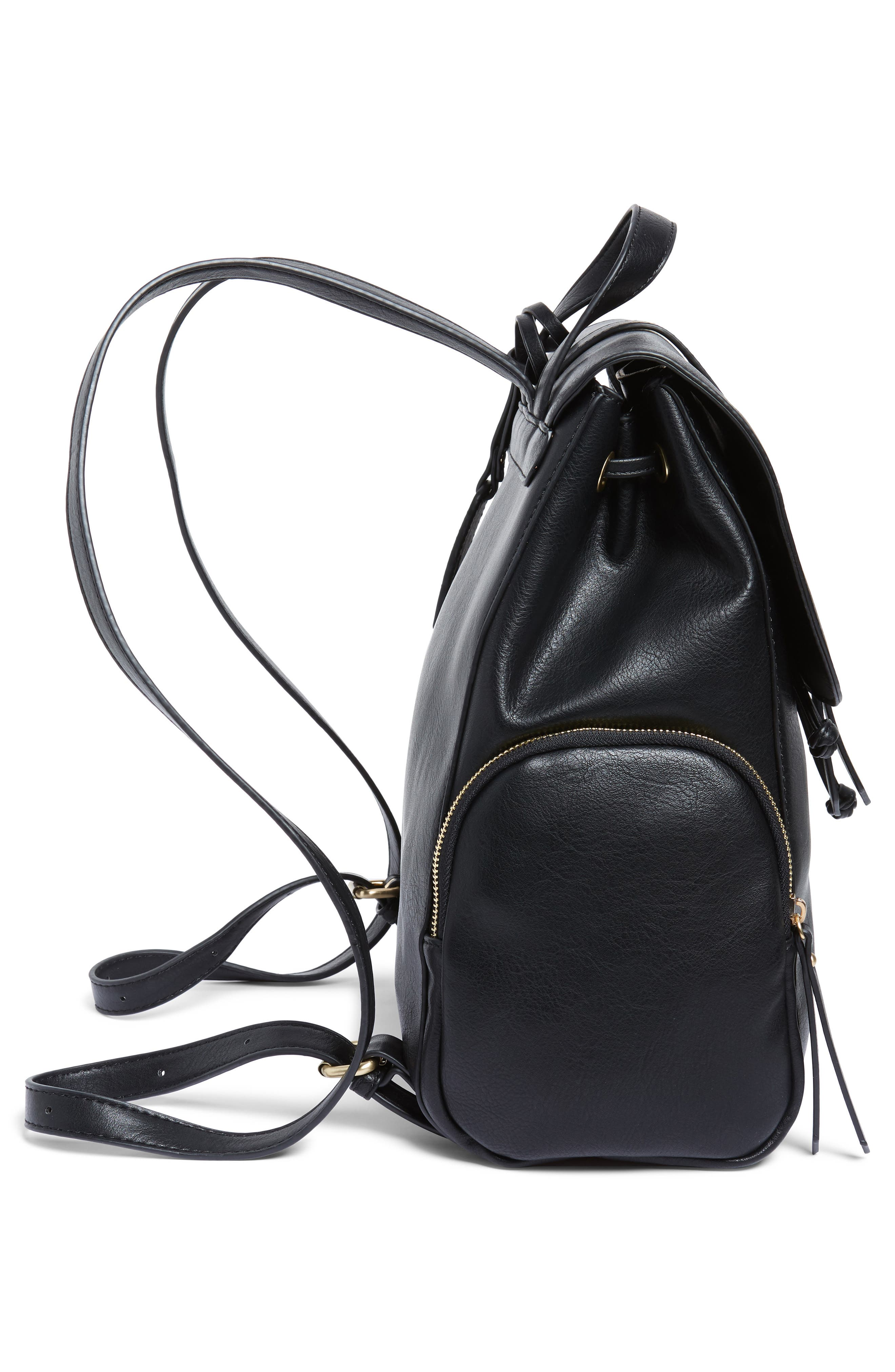 Marah Faux Leather Backpack,                             Alternate thumbnail 5, color,                             BLACK