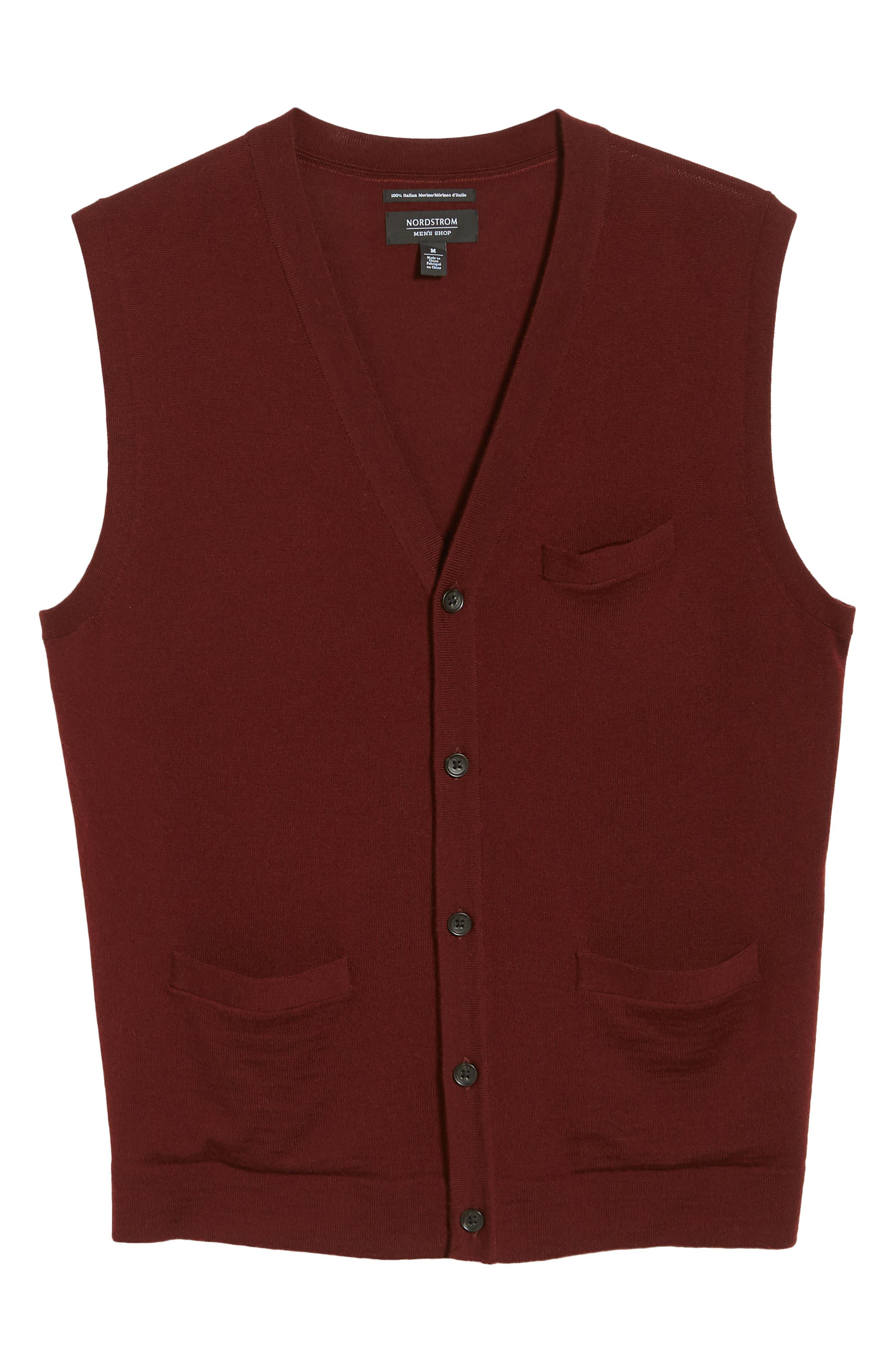 Merino Button Front Sweater Vest,                             Alternate thumbnail 6, color,                             930