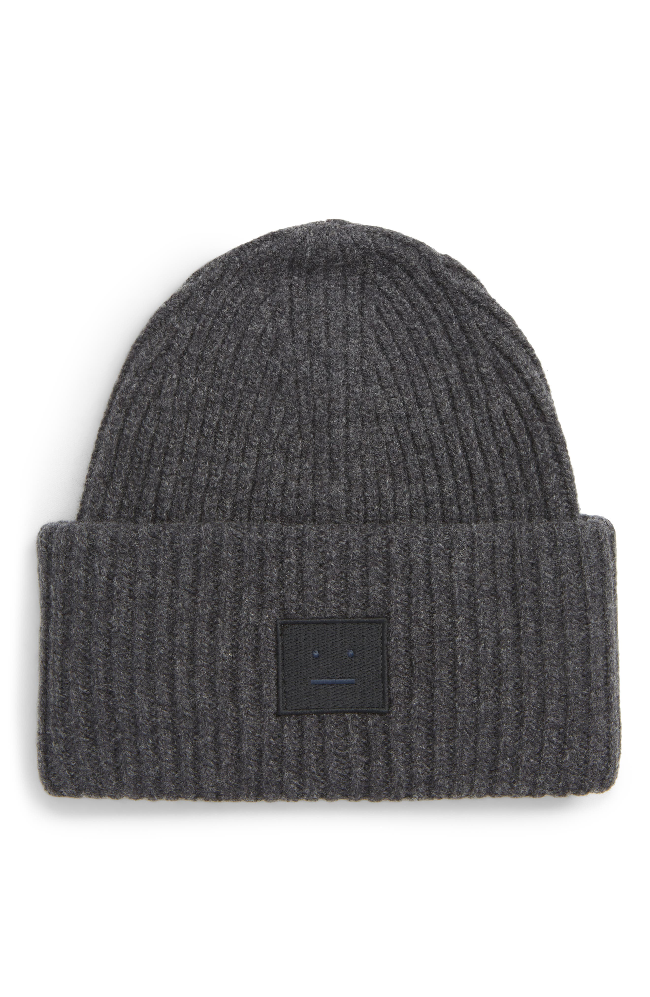 ACNE STUDIOS Pansy Rib Knit Beanie, Main, color, CHARCOAL MELANGE