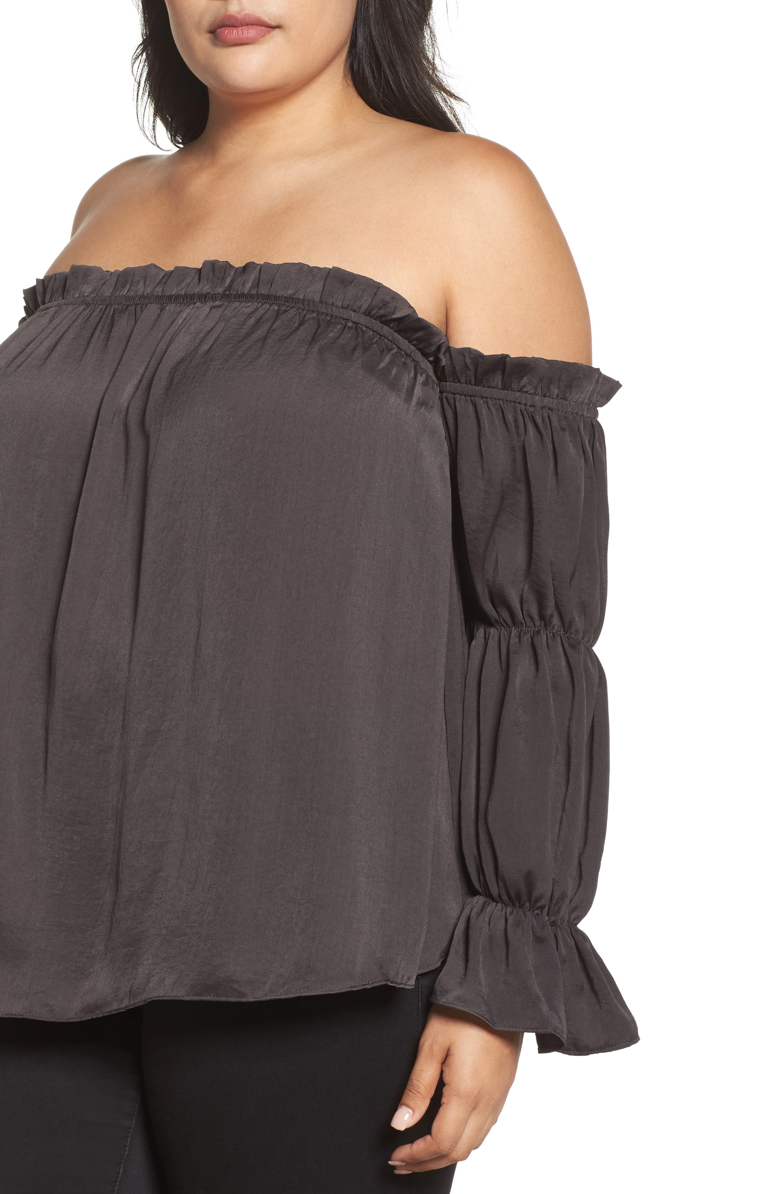 Off the Shoulder Puff Sleeve Top,                             Alternate thumbnail 4, color,                             020