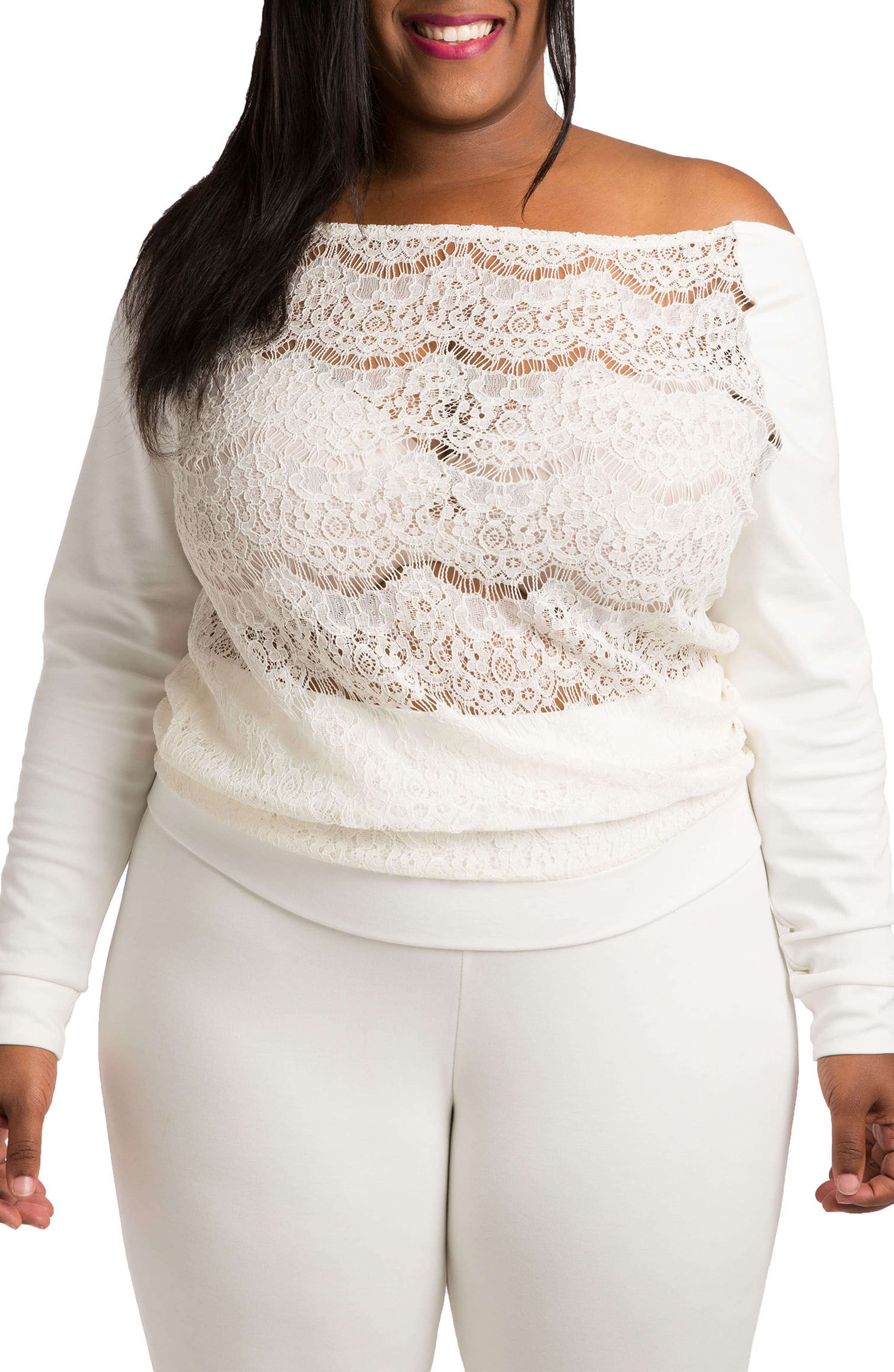 POETIC JUSTICE Lace & Ponte Knit Top, Main, color, WHITE