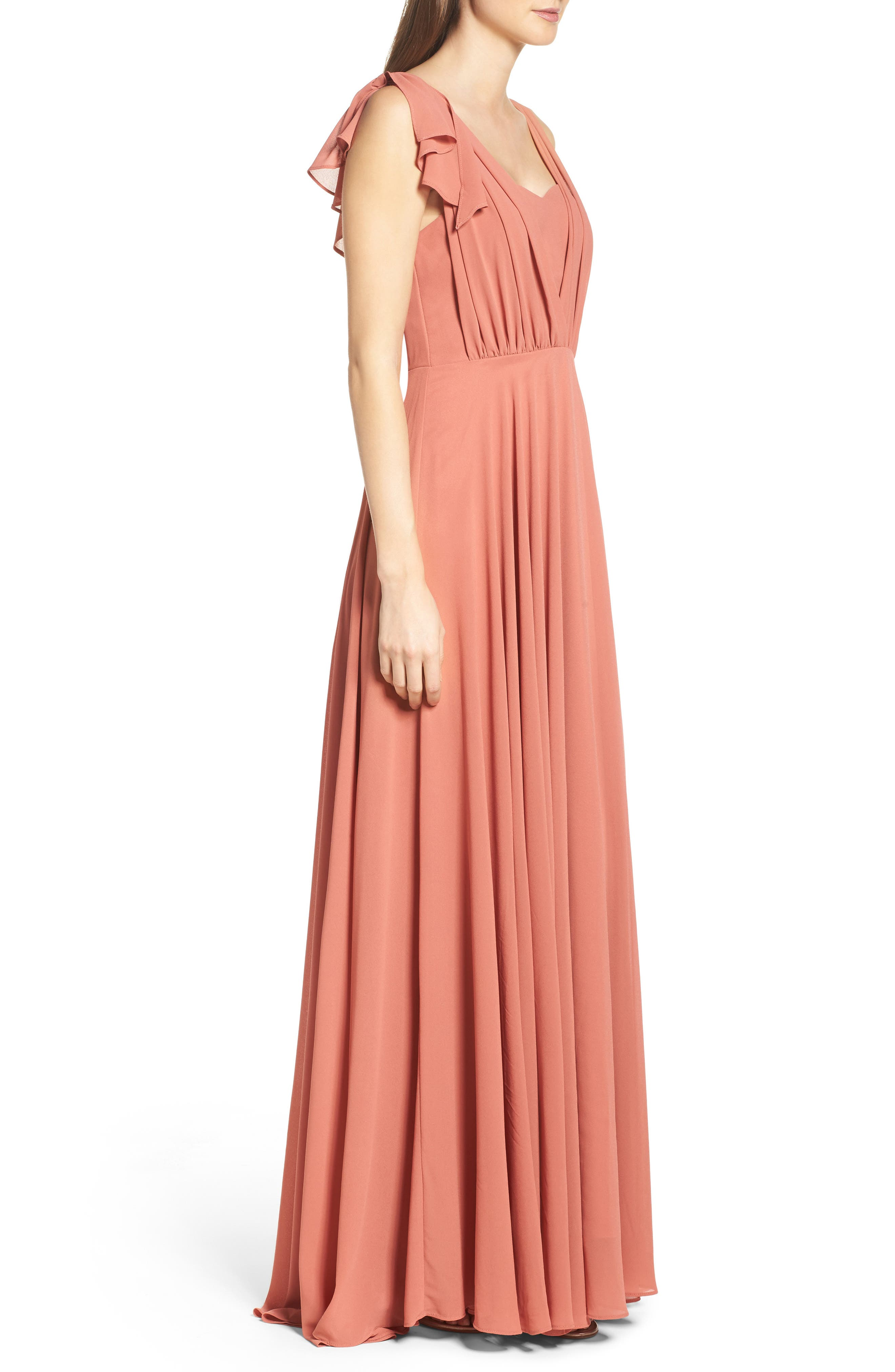 Flutter Sleeve Chiffon Gown,                             Alternate thumbnail 9, color,
