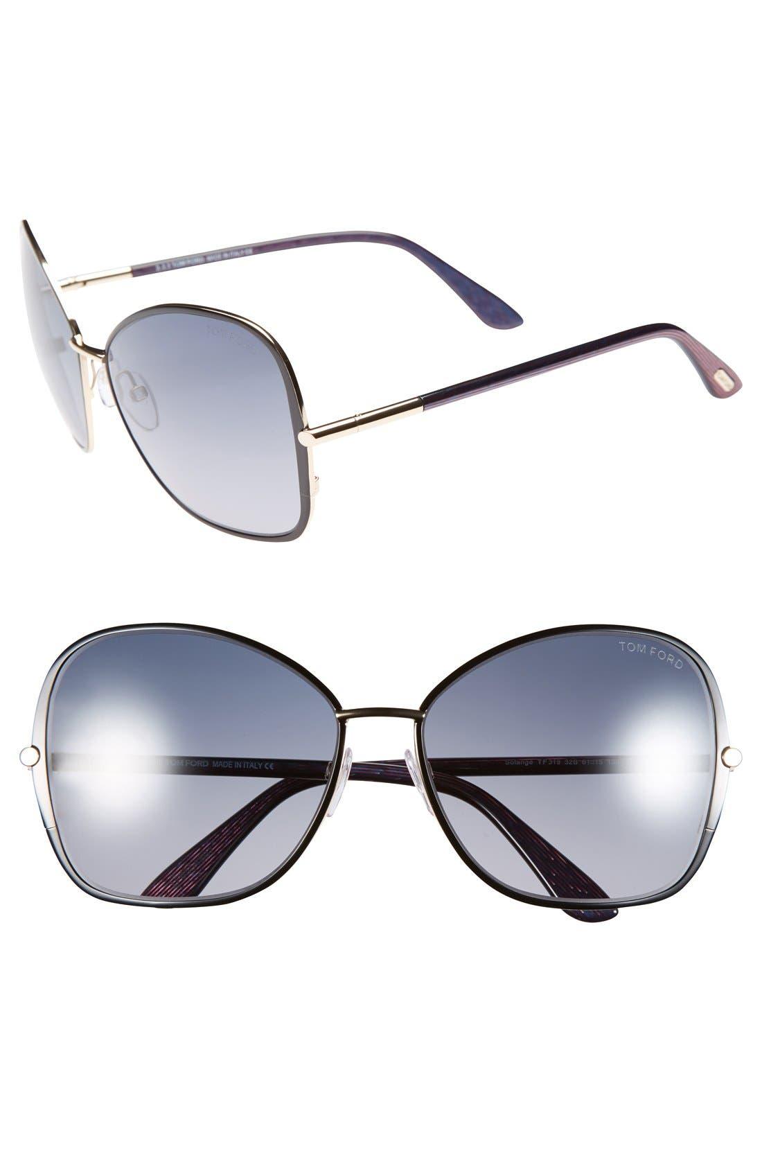 TOM FORD 'Solange' 61mm Sunglasses, Main, color, 001