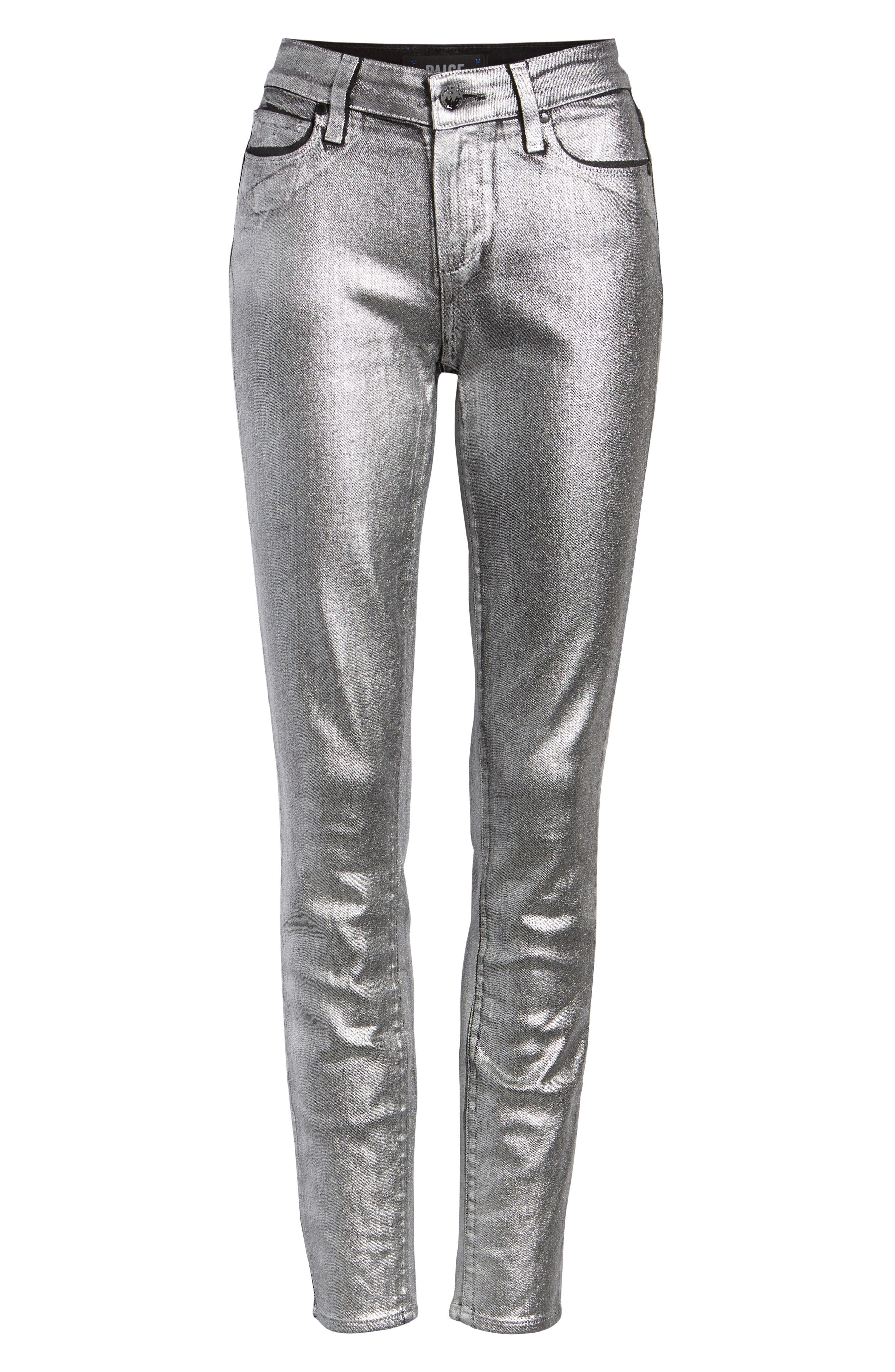Verdugo Skinny Jeans,                             Alternate thumbnail 7, color,                             SILVER GALAXY COATING