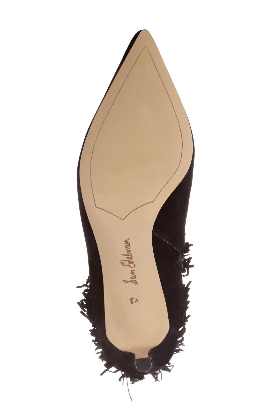 SAM EDELMAN,                             'Kandice' Fringed Suede Pointy Toe Bootie,                             Alternate thumbnail 4, color,                             002