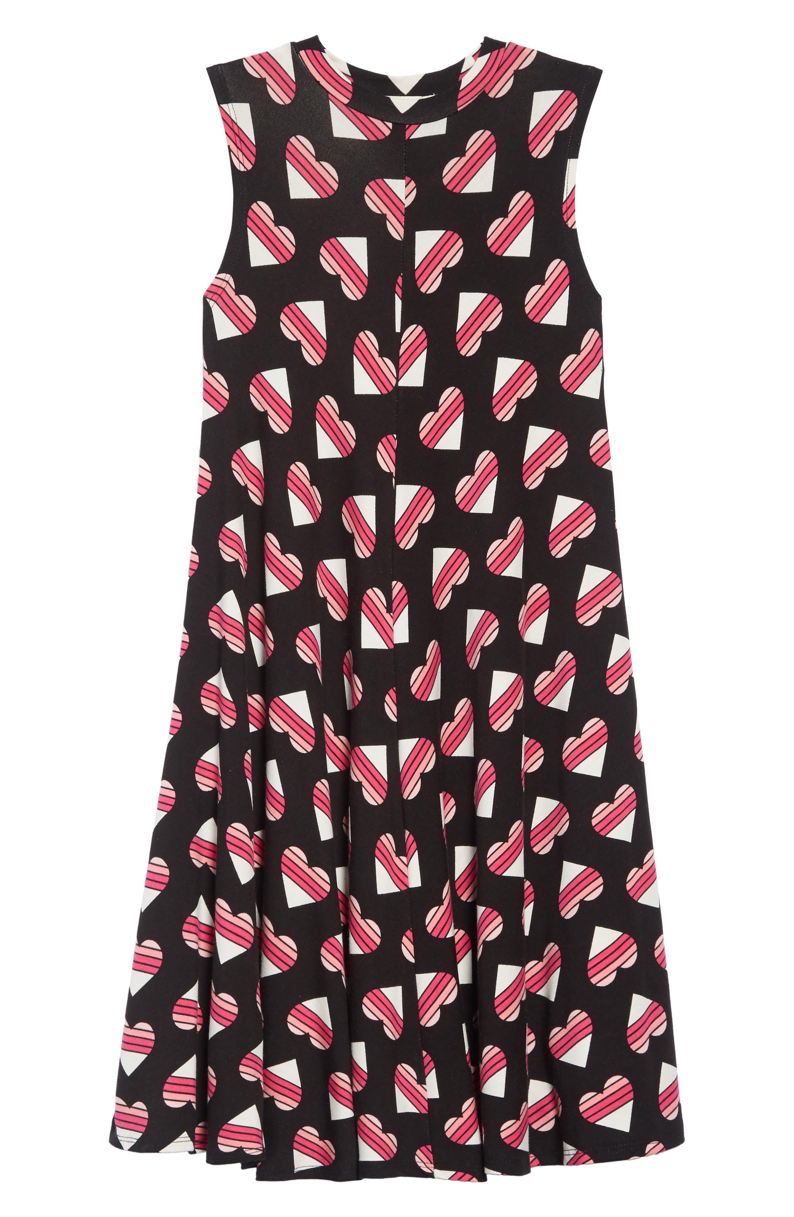 TUCKER + TATE,                             Print Sleeveless Knit Dress,                             Main thumbnail 1, color,                             BLACK MULTI HEARTBREAKER